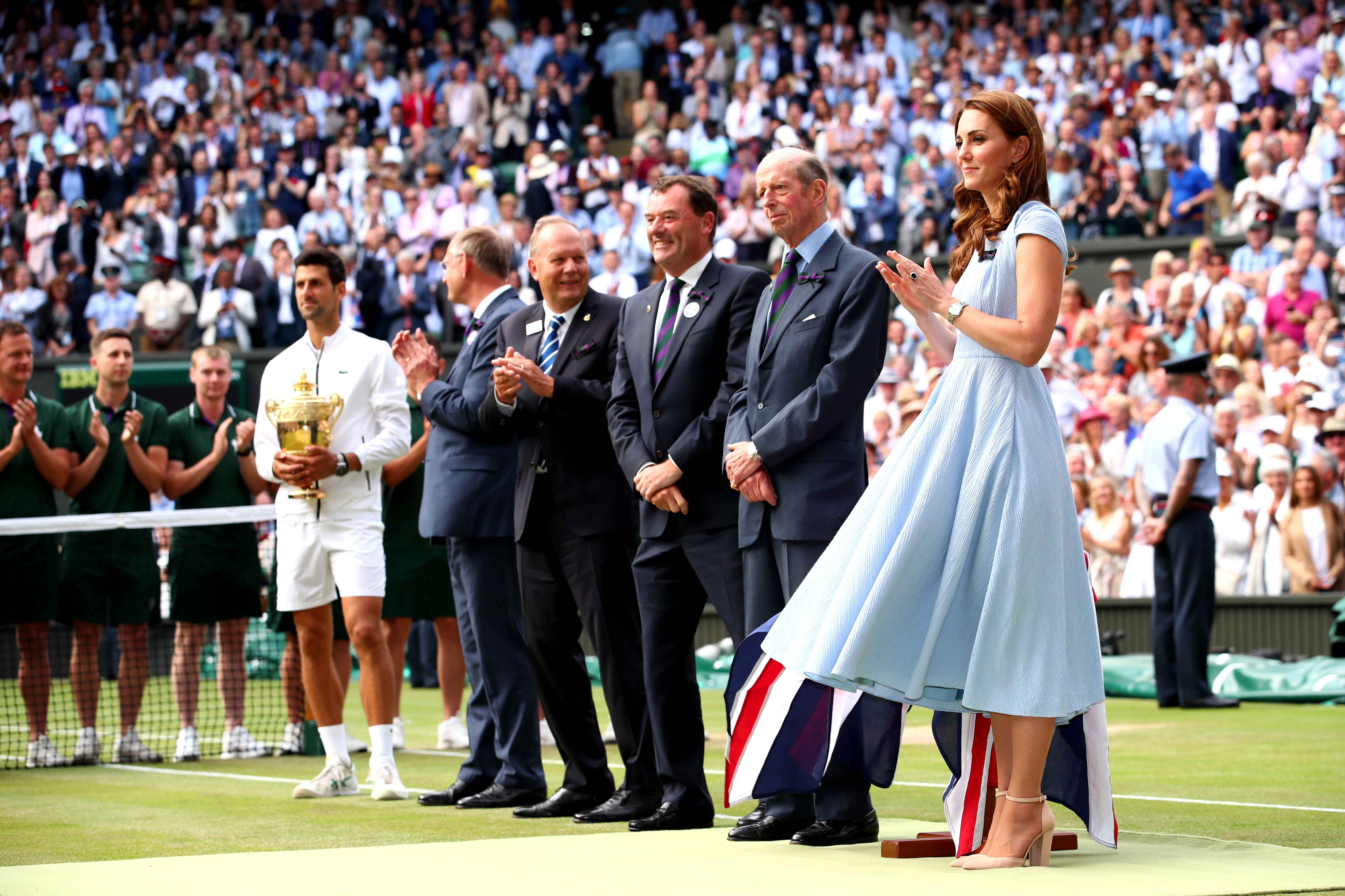 LONDON, ENGLAND - JULY 14:  Catherine Duchess of Cambridge reacts during the trophy ceremony after the Men's Singles final against Roger Federer of Switzerland during Day thirteen of The Championships - Wimbledon 2019 at All England Lawn Tennis and Croquet Club on July 14, 2019 in London, England. (Photo by Clive Brunskill/Getty Images)