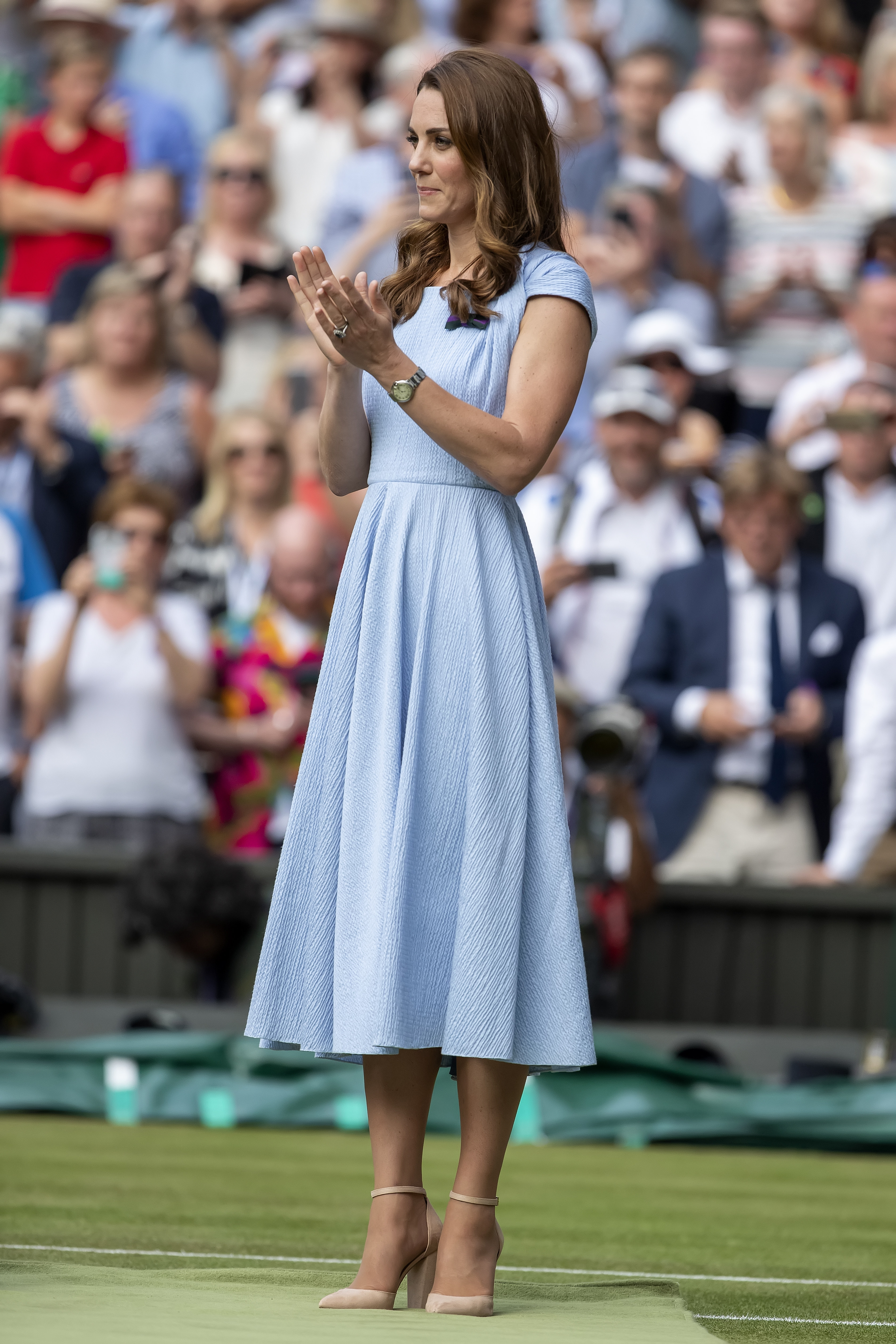 14th July 2019, The All England Lawn Tennis and Croquet Club, Wimbledon, England, Wimbledon Tennis Tournament, Day 13, mens singles final; Catherine Duchess of Cambridge (photo by Shaun Brooks/Action Plus via Getty Images)