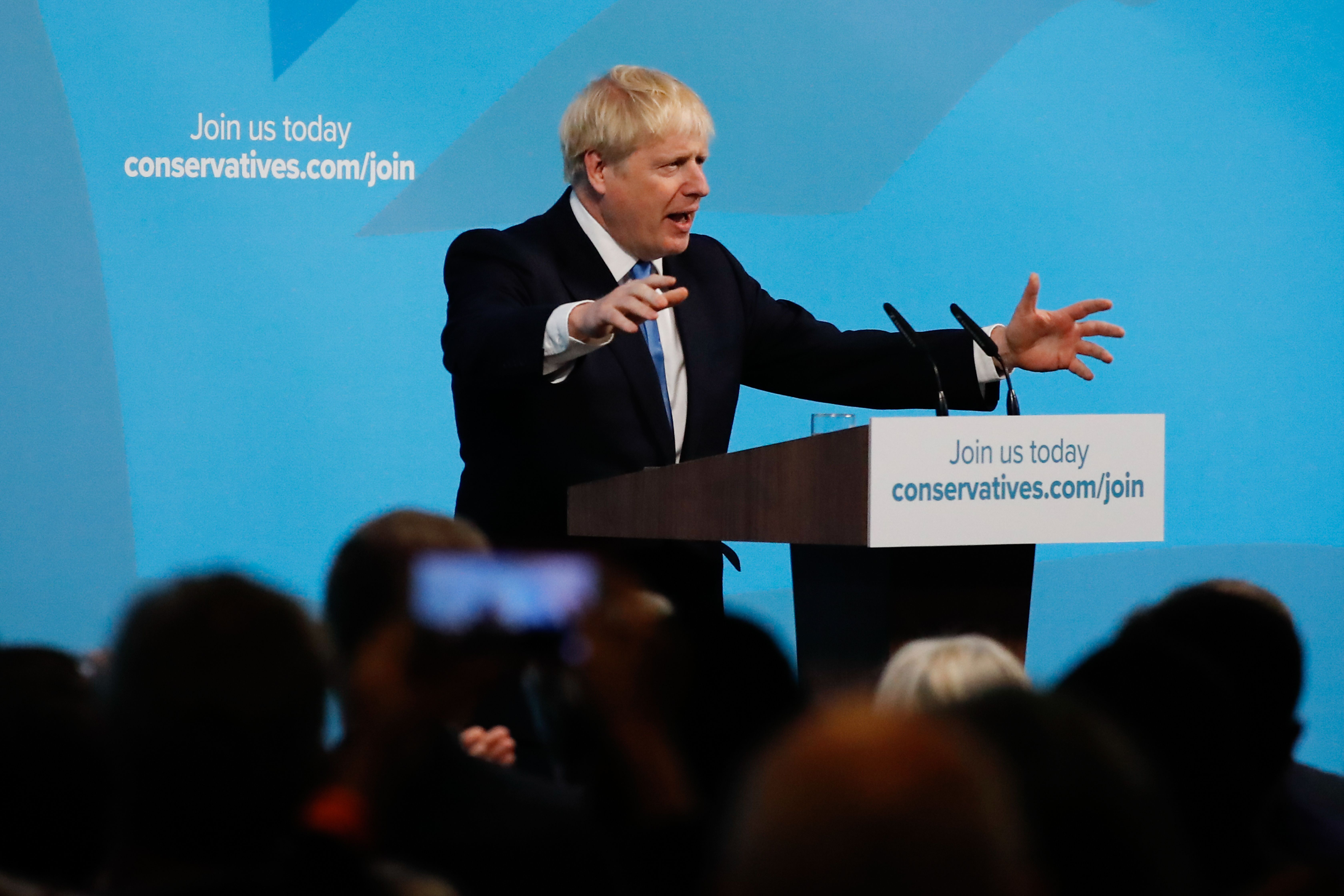 New Conservative Party leader and incoming prime minister Boris Johnson gives a speech at an event to announce the winner of the Conservative Party leadership contest in central London on July 23, 2019. (Photo by Tolga AKMEN / AFP)        (Photo credit should read TOLGA AKMEN/AFP/Getty Images)