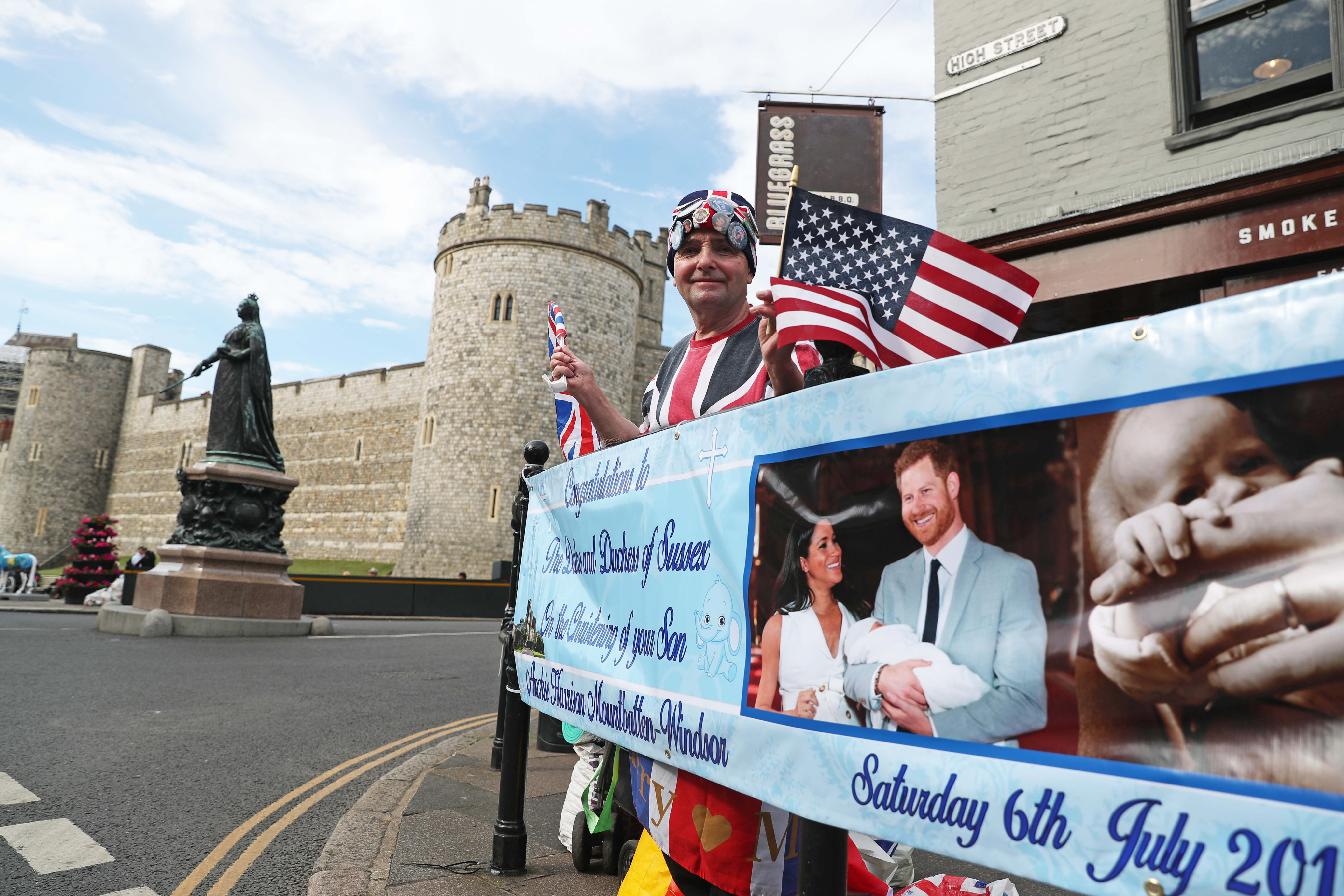 Royal fan John Loughrey, 64, camped out in Windsor ahead of the royal christening of the Duke and Duchess of Sussex's son, Archie, at Windsor Castle tomorrow.