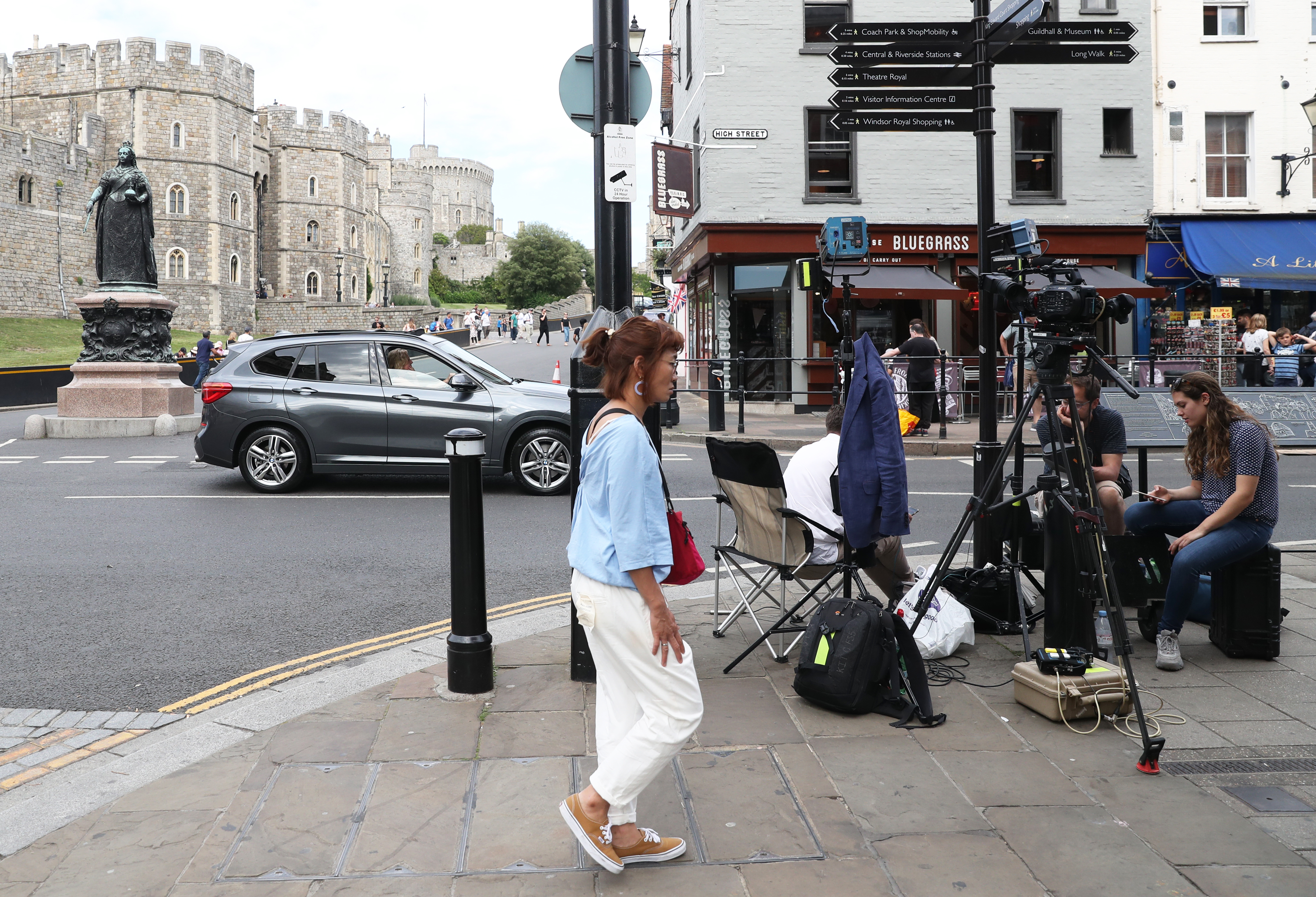 Camera crews set up in Windsor ahead of the royal christening of the Duke and Duchess of Sussex's son, Archie, at Windsor Castle tomorrow.