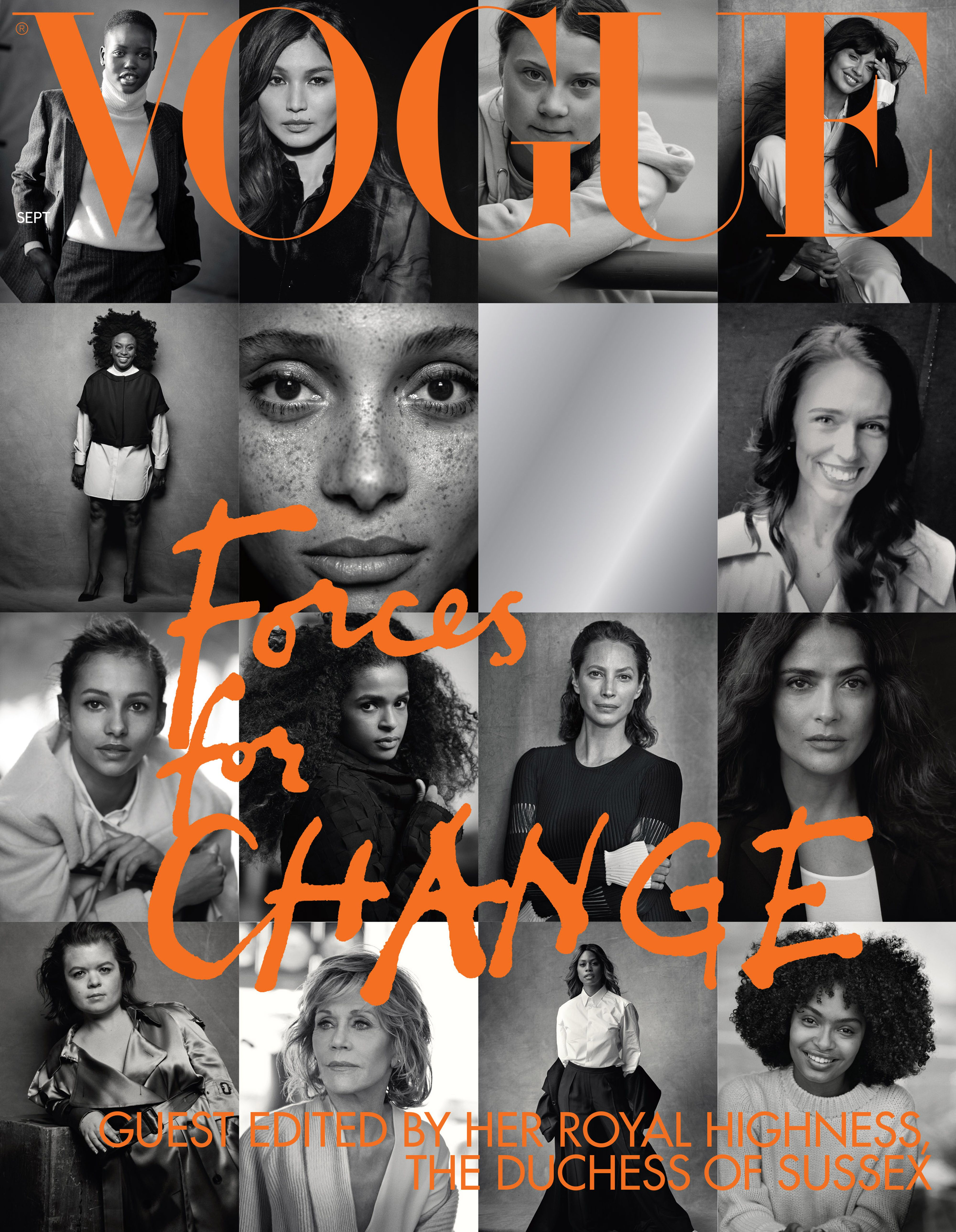 """This undated handout photo received in London, issued on July 28, 2019 by Kensington Palace shows the cover of British Vogue's September issue, entitled """"Forces for Change"""", showing photographs by Peter Lindbergh, which is guest edited by Britain's Meghan, Duchess of Sussex. - Prince Harry's wife Meghan will guest edit the September issue of iconic fashion magazine British Vogue, which will see her in """"candid conversation"""" with former first lady Michelle Obama. (Photo by Peter Lindbergh / KENSINGTON PALACE / AFP) / XGTY / RESTRICTED TO EDITORIAL USE - MANDATORY CREDIT """"AFP PHOTO / KENSINGTON PALACE / PETER LINDBERGH"""" - NO MARKETING NO ADVERTISING CAMPAIGNS - NO COMMERCIAL USE - NO THIRD PARTY SALES - RESTRICTED TO SUBSCRIPTION USE - NO CROPPING OR MODIFICATION - DISTRIBUTED AS A SERVICE TO CLIENTS - Publications are asked to credit the photographs to: Peter Lindbergh /         (Photo credit should read PETER LINDBERGH/AFP/Getty Images)"""