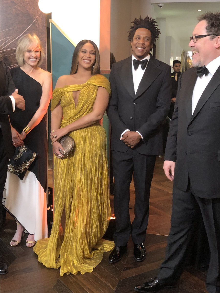 Beyonce and her husband Jay-Z wait in line to meet the Duke and Duchess of Sussex at the European Premiere of Disney's The Lion King at the Odeon Leicester Square, London.