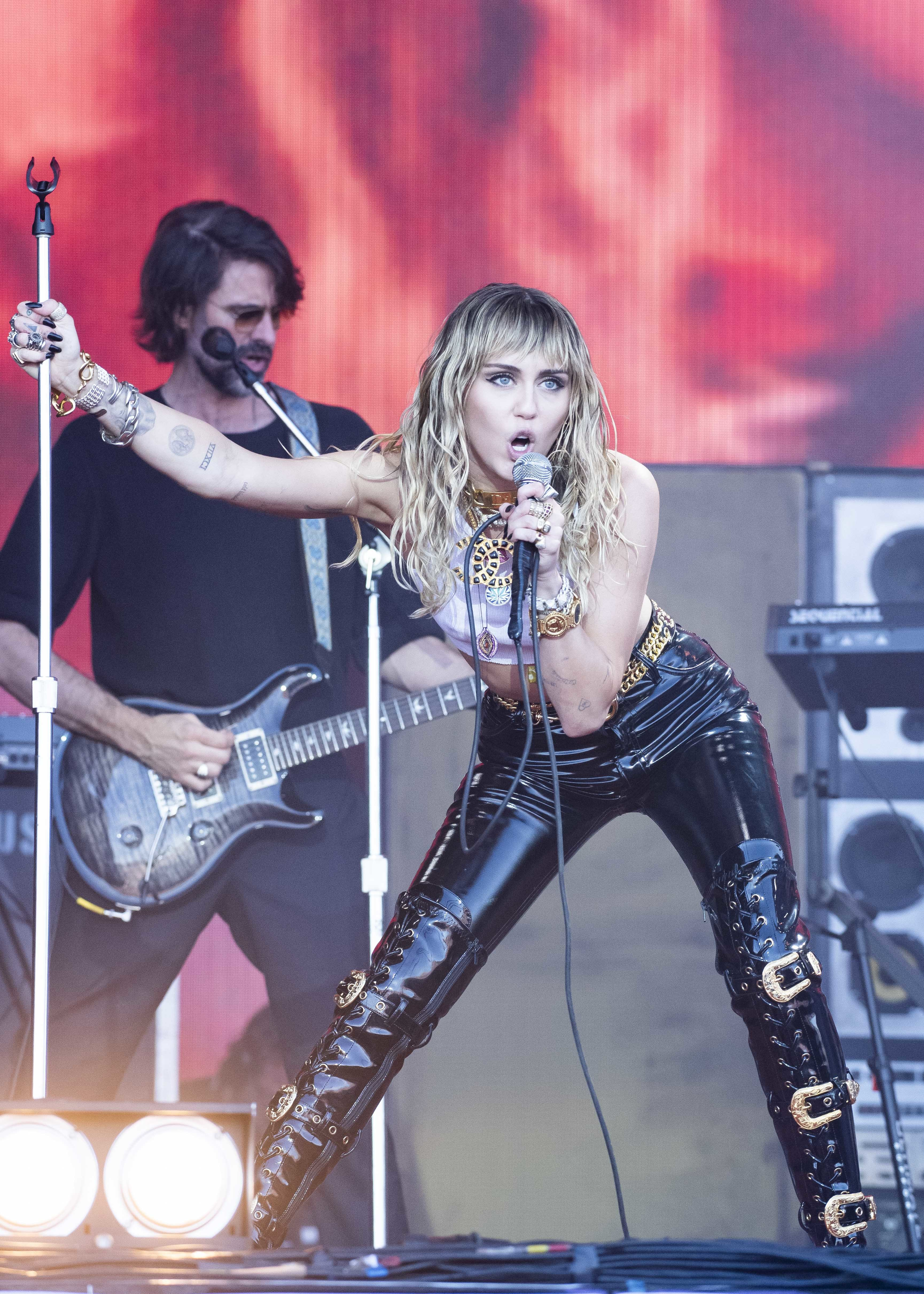 Miley Cyrus performs live on the Pyramid Stage at Worthy Farm, Pilton, Somerset. Picture date: Sunday 30th June 2019.  Photo credit should read:  David Jensen/EMPICS Entertainment