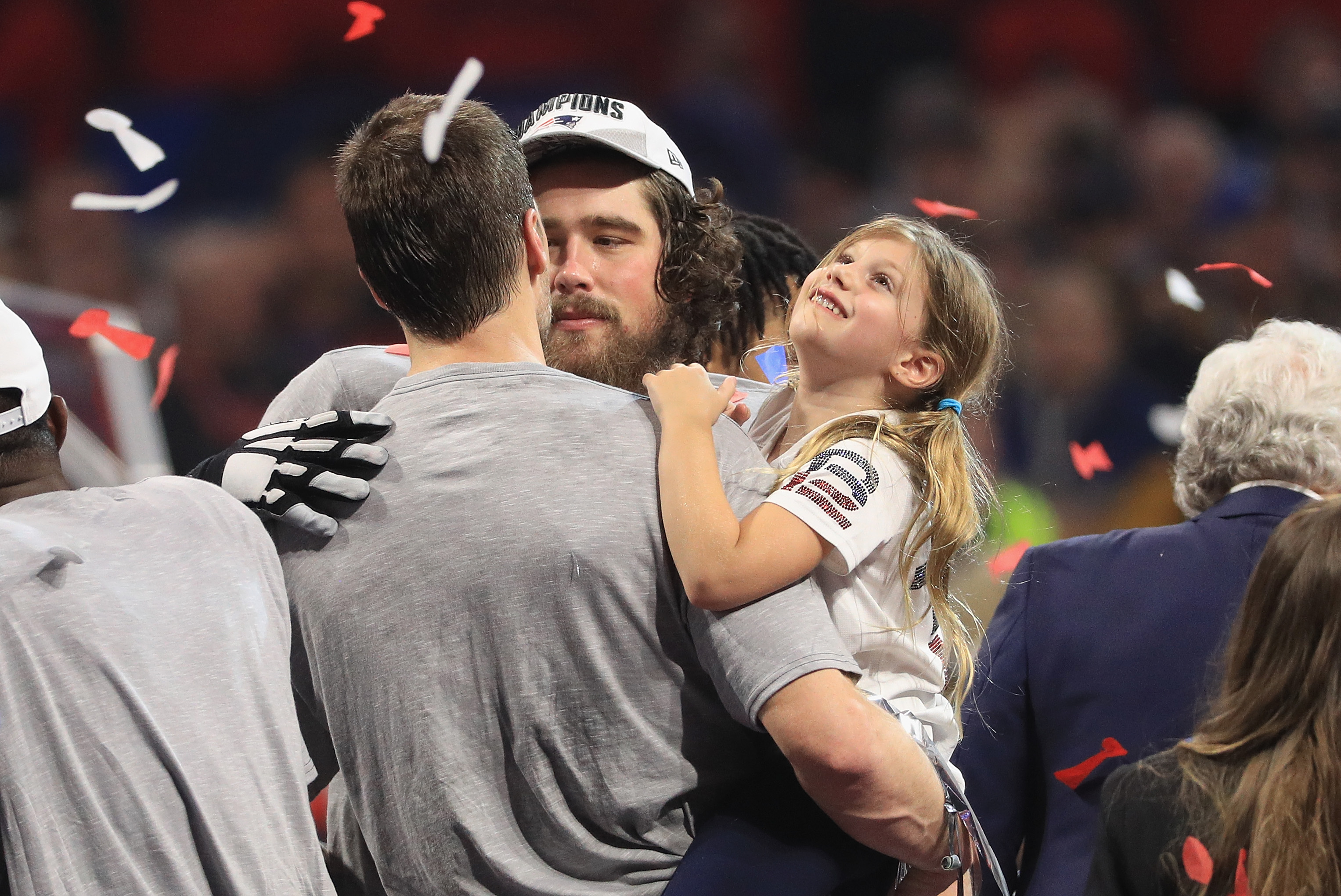 ATLANTA, GA - FEBRUARY 03: Vivian Brady, daughter of Tom Brady #12 of the New England Patriots, watches confetti fall after the Patriots defeat the Los Angeles Rams 13-3 during Super Bowl LIII at Mercedes-Benz Stadium on February 3, 2019 in Atlanta, Georgia.  (Photo by Mike Ehrmann/Getty Images)