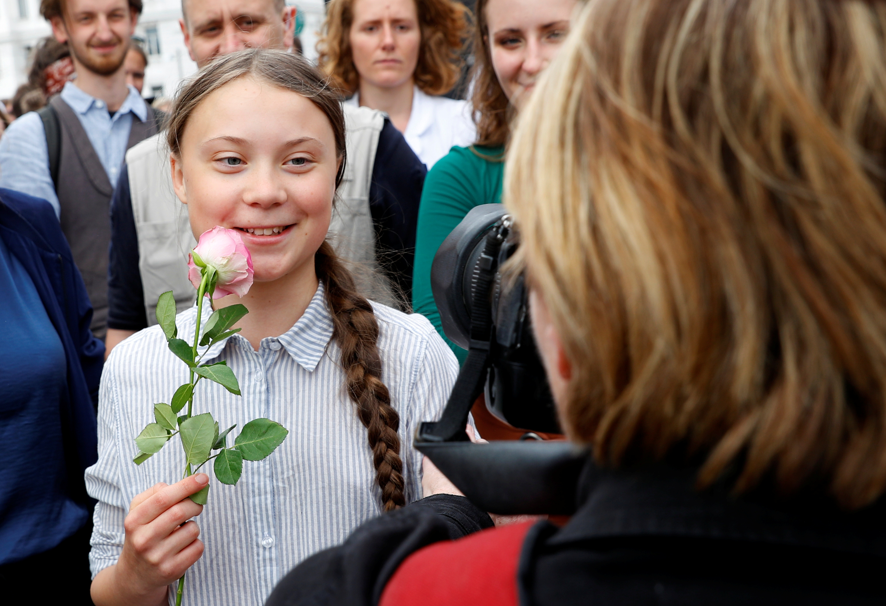 """Greta Thunberg attends a demonstration calling for action on climate change, during the """"Fridays for Future"""" school strike in Vienna, Austria May 31, 2019. REUTERS/Leonhard Foeger"""