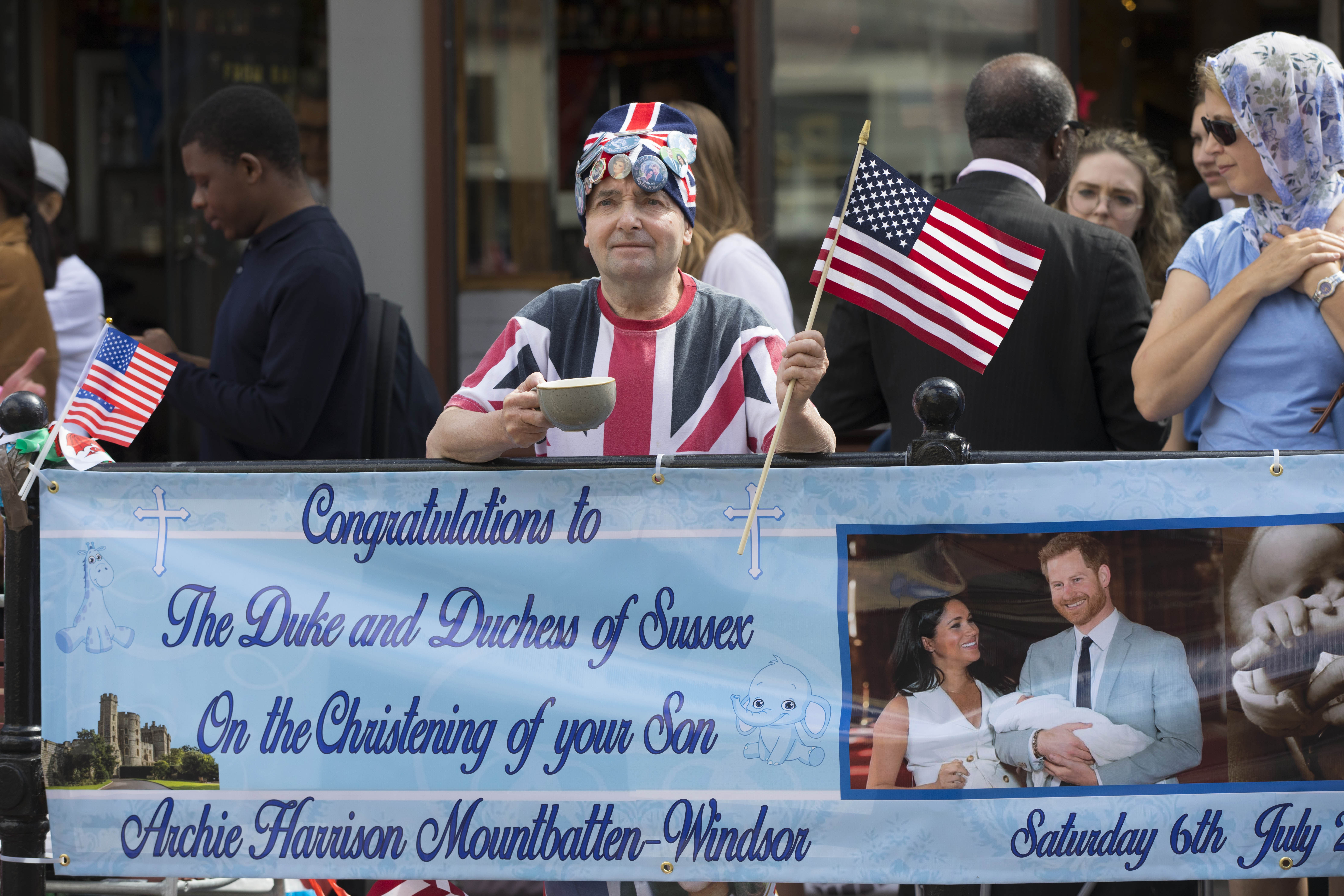 Royal superfan John Loughrey outside Windsor Castle in Windsor ahead of the royal christening of the Duke and Duchess of Sussex's son, Archie, in the castle's intimate private chapel. RESS ASSOCIATION Photo. Picture date: Saturday July 6, 2019. See PA story ROYAL Christening. Photo credit should read: Rick Findler/PA Wire