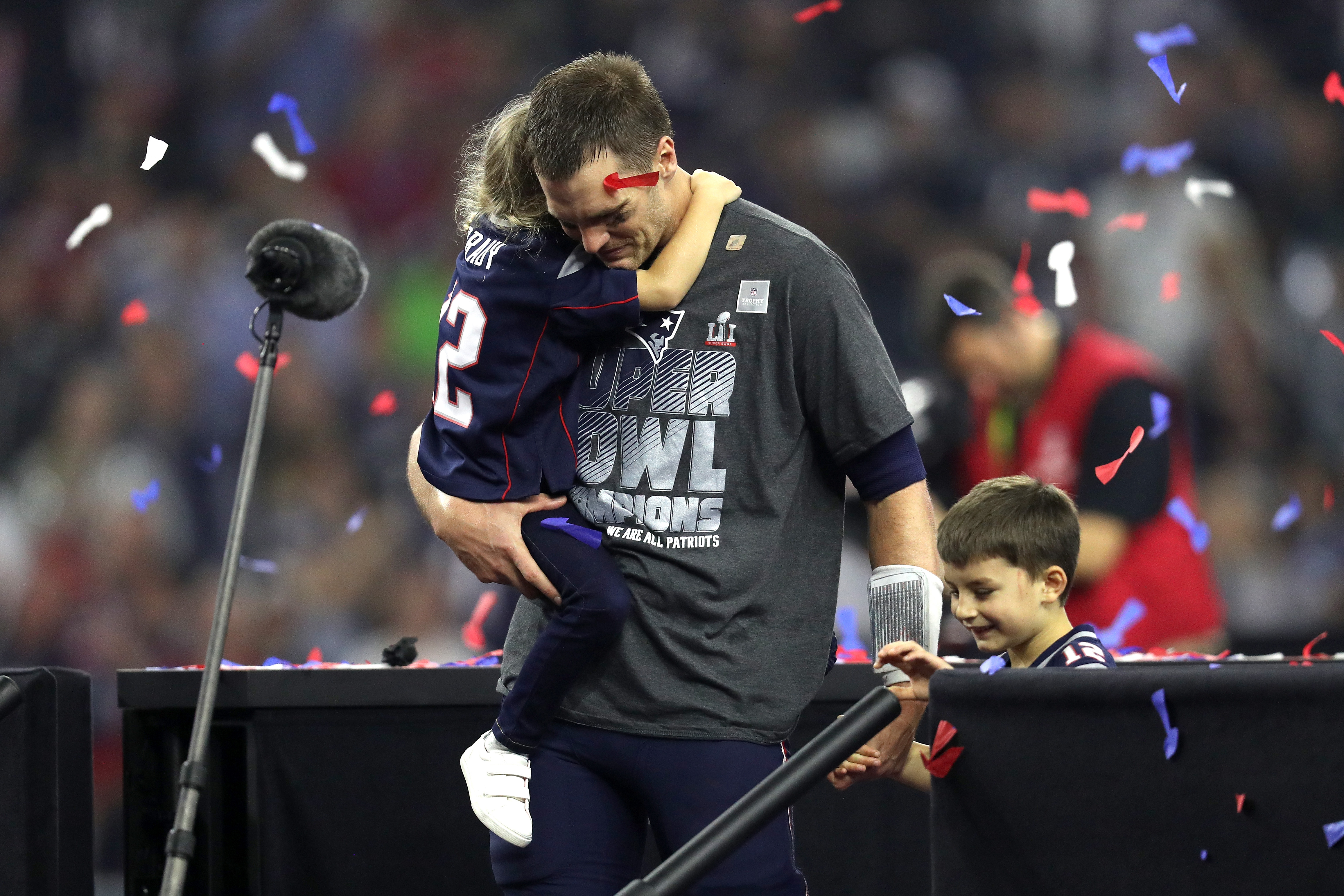HOUSTON, TX - FEBRUARY 05: Tom Brady #12 of the New England Patriots celebrates with his children after defeating the Atlanta Falcons during Super Bowl 51 at NRG Stadium on February 5, 2017 in Houston, Texas. The Patriots defeated the Falcons 34-28. (Photo by Patrick Smith/Getty Images)