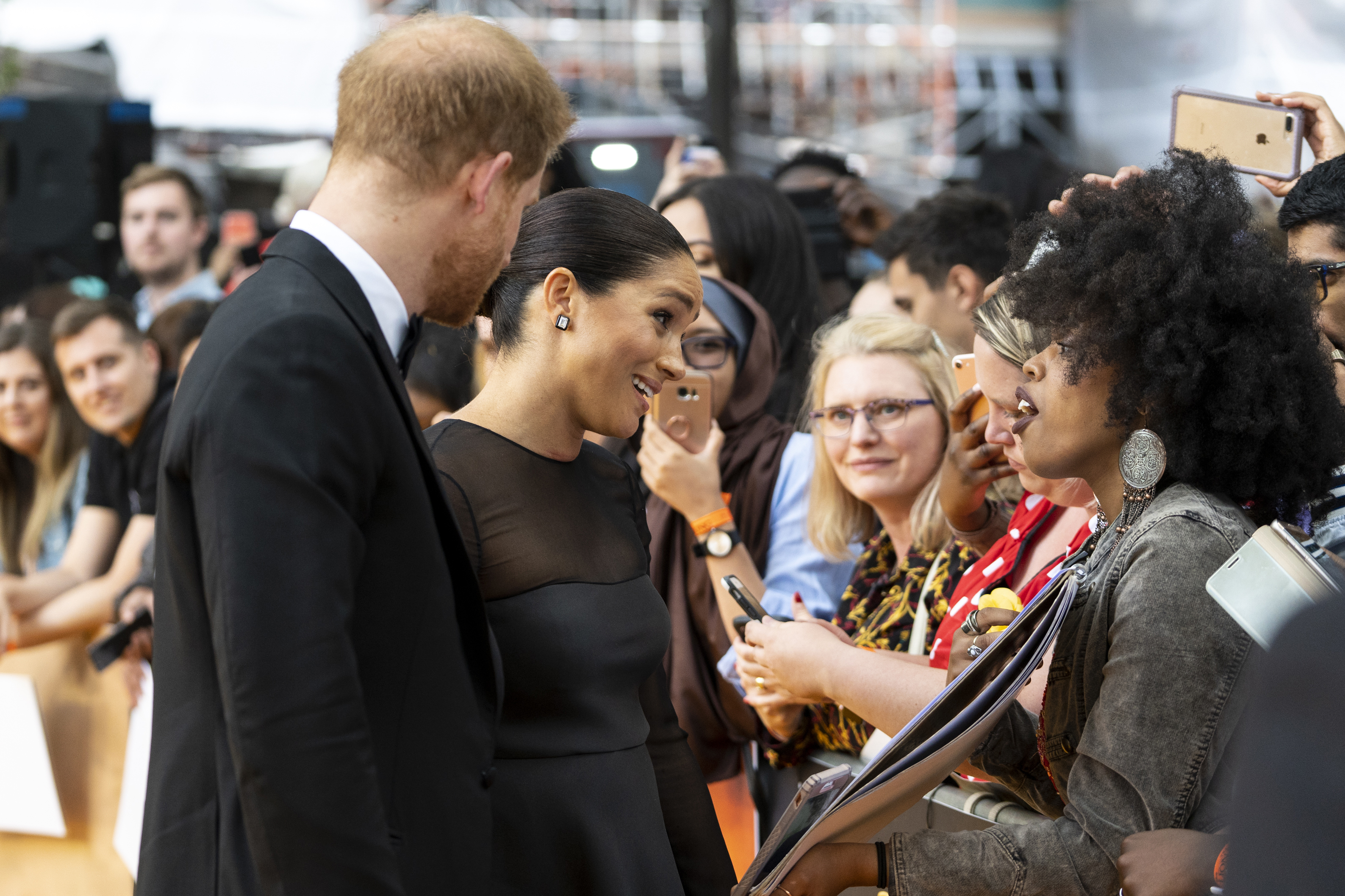 """LONDON, ENGLAND - JULY 14: Prince Harry, Duke of Sussex and Meghan, Duchess of Sussex arrive to attend the European Premiere of Disney's """"The Lion King"""" at Odeon Luxe Leicester Square on July 14, 2019 in London, England.  (Photo by Niklas Halle'n-WPA Pool/Getty Images)"""