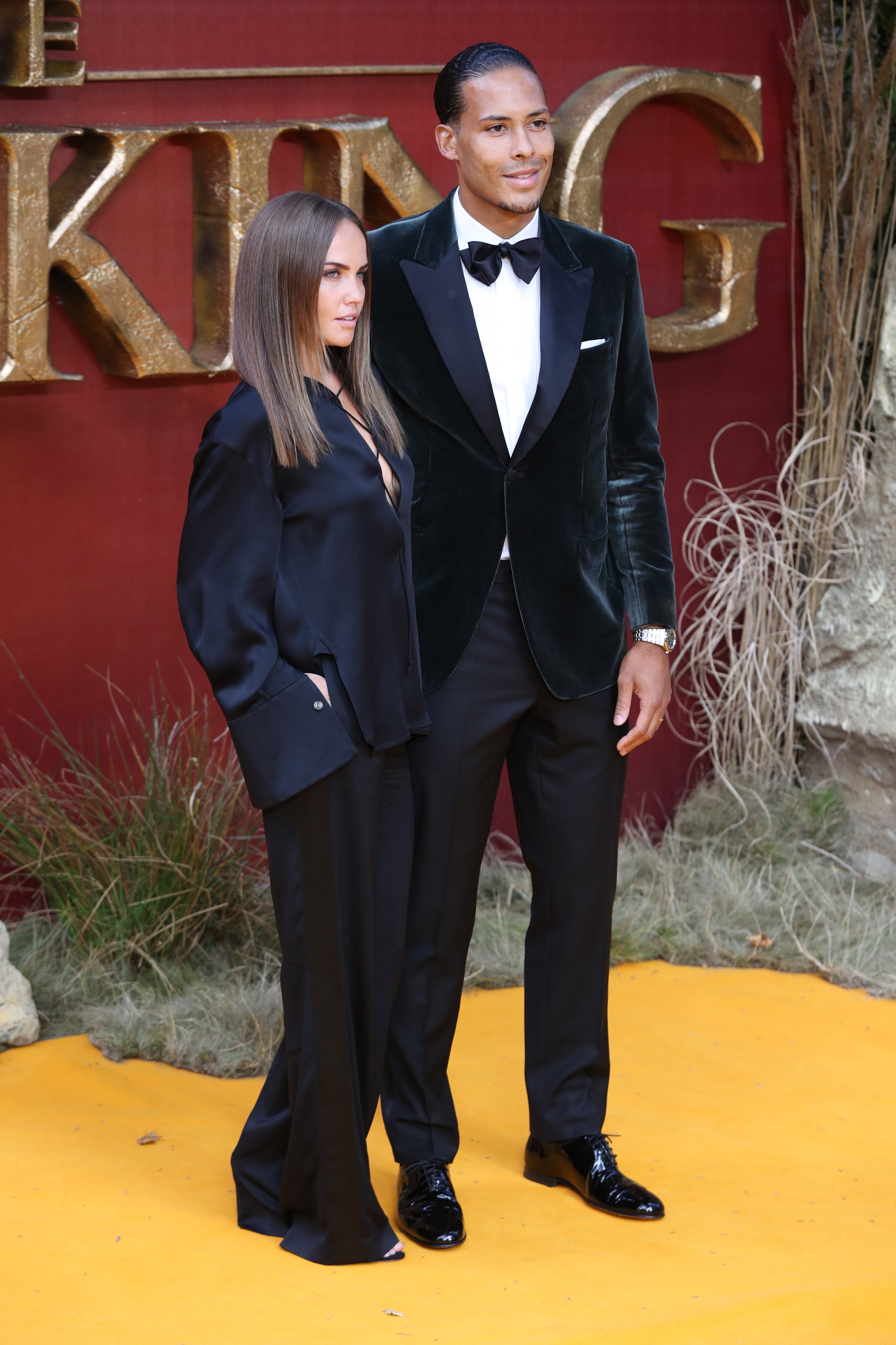 Virgil van Dijk and partner attend the European Premiere of Disney's The Lion King at the Odeon Leicester Square, London.