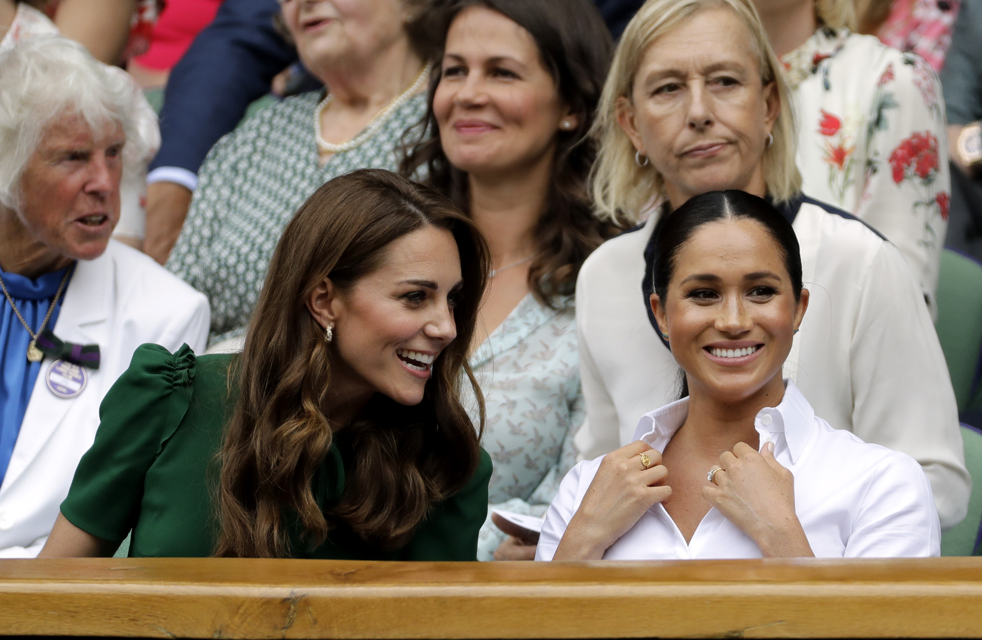 The Duchess of Cambridge and The Duchess of Sussex during the women's singles final on day twelve of the Wimbledon Championships at the All England Lawn Tennis and Croquet Club, Wimbledon.