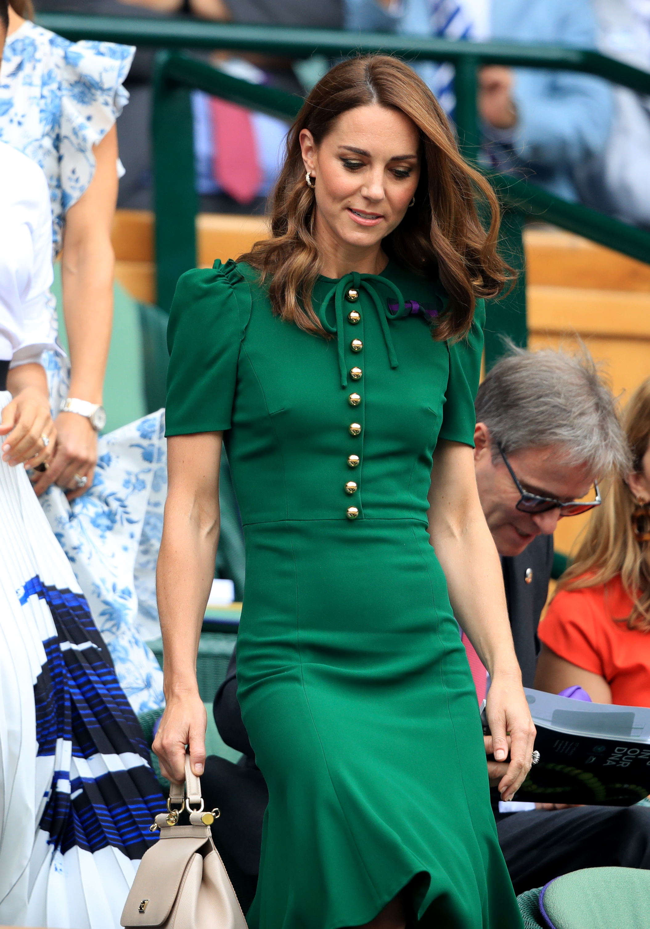 The Duchess of Cambridge on day twelve of the Wimbledon Championships at the All England Lawn Tennis and Croquet Club, Wimbledon.
