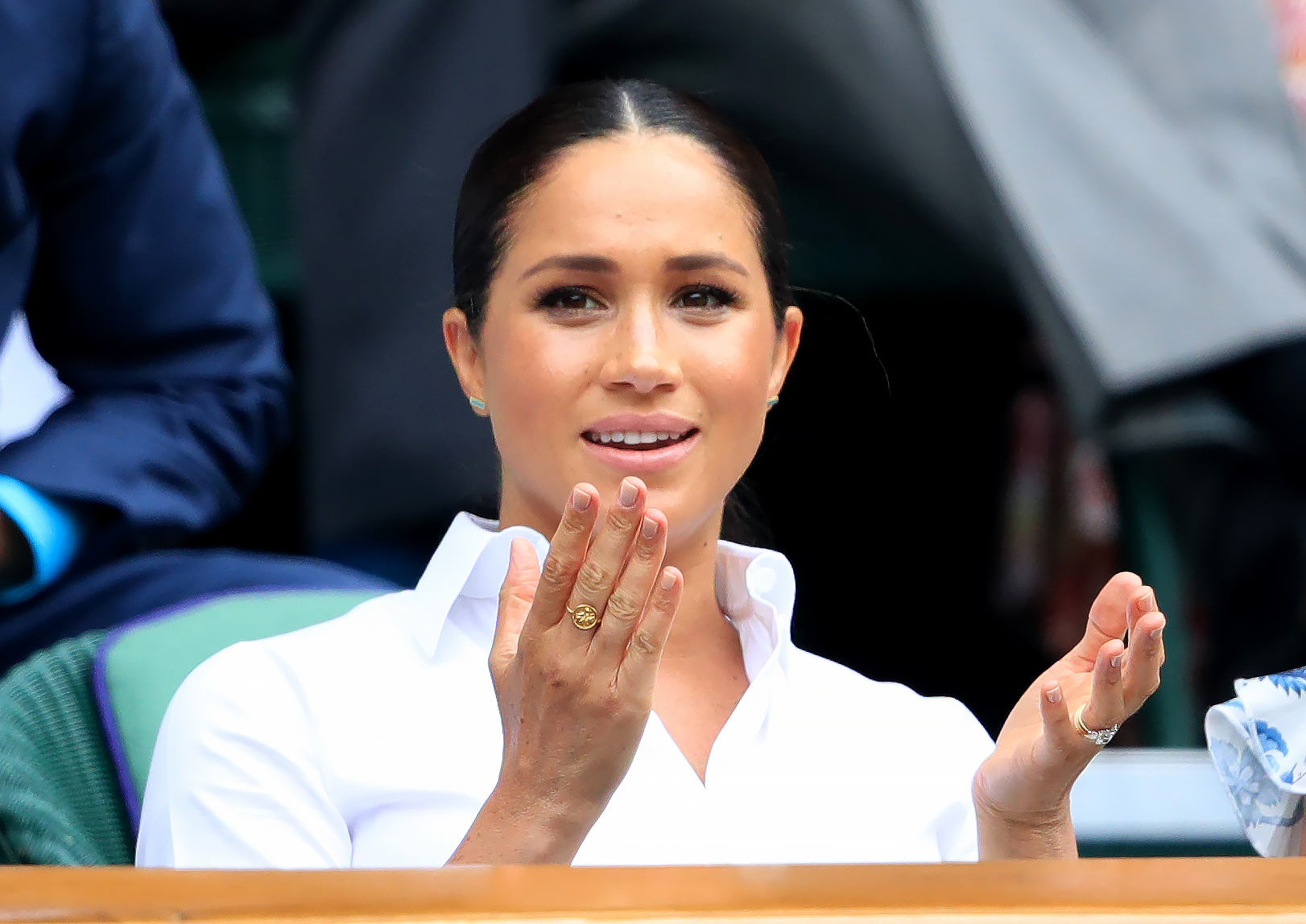 The Duchess of Sussex on day twelve of the Wimbledon Championships at the All England Lawn Tennis and Croquet Club, Wimbledon.