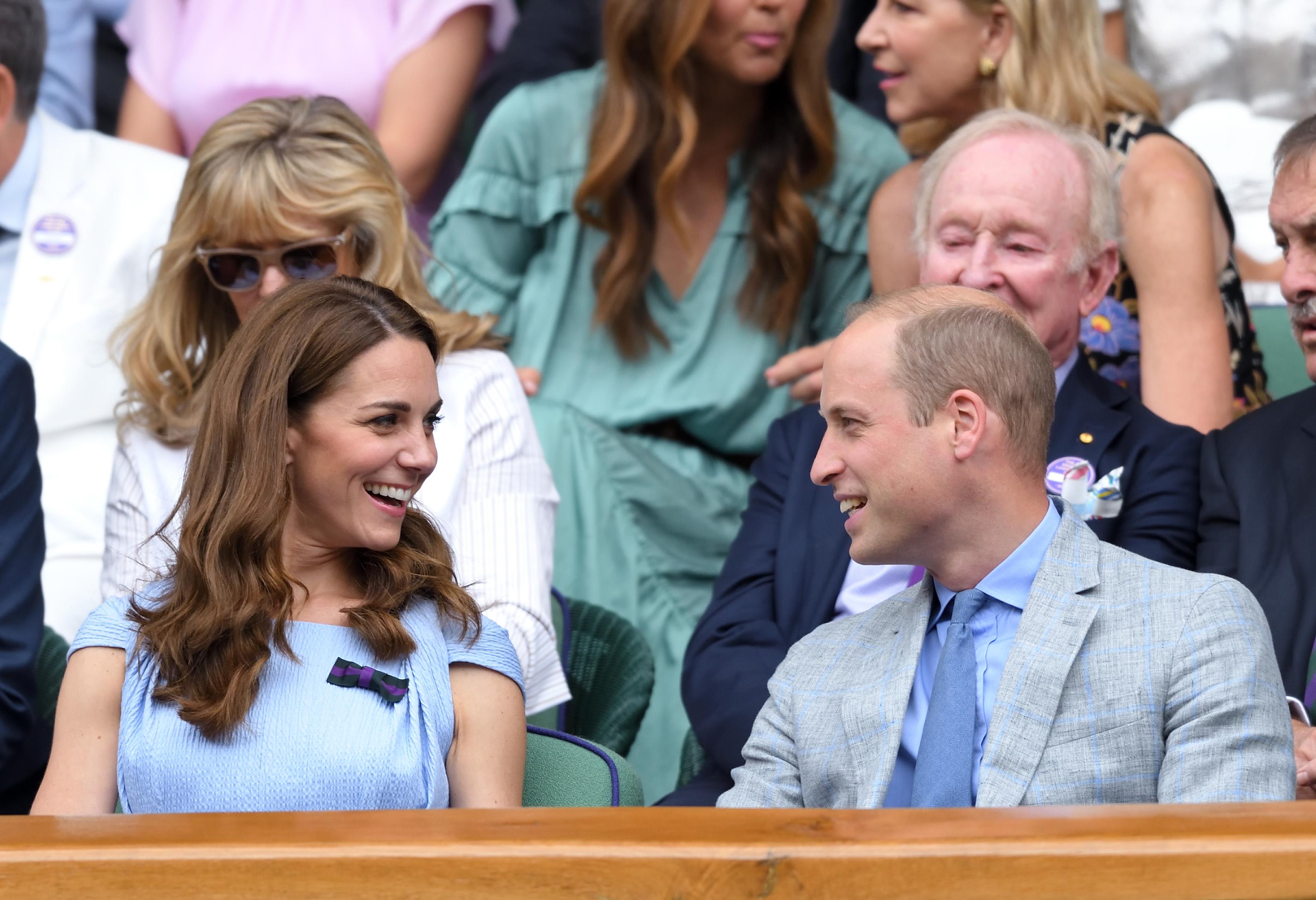 LONDON, ENGLAND - JULY 14: Catherine, Duchess of Cambridge and Prince William, Duke of Cambridge in the Royal Box on Centre court during Men's Finals Day of the Wimbledon Tennis Championships at All England Lawn Tennis and Croquet Club on July 14, 2019 in London, England. (Photo by Karwai Tang/Getty Images)