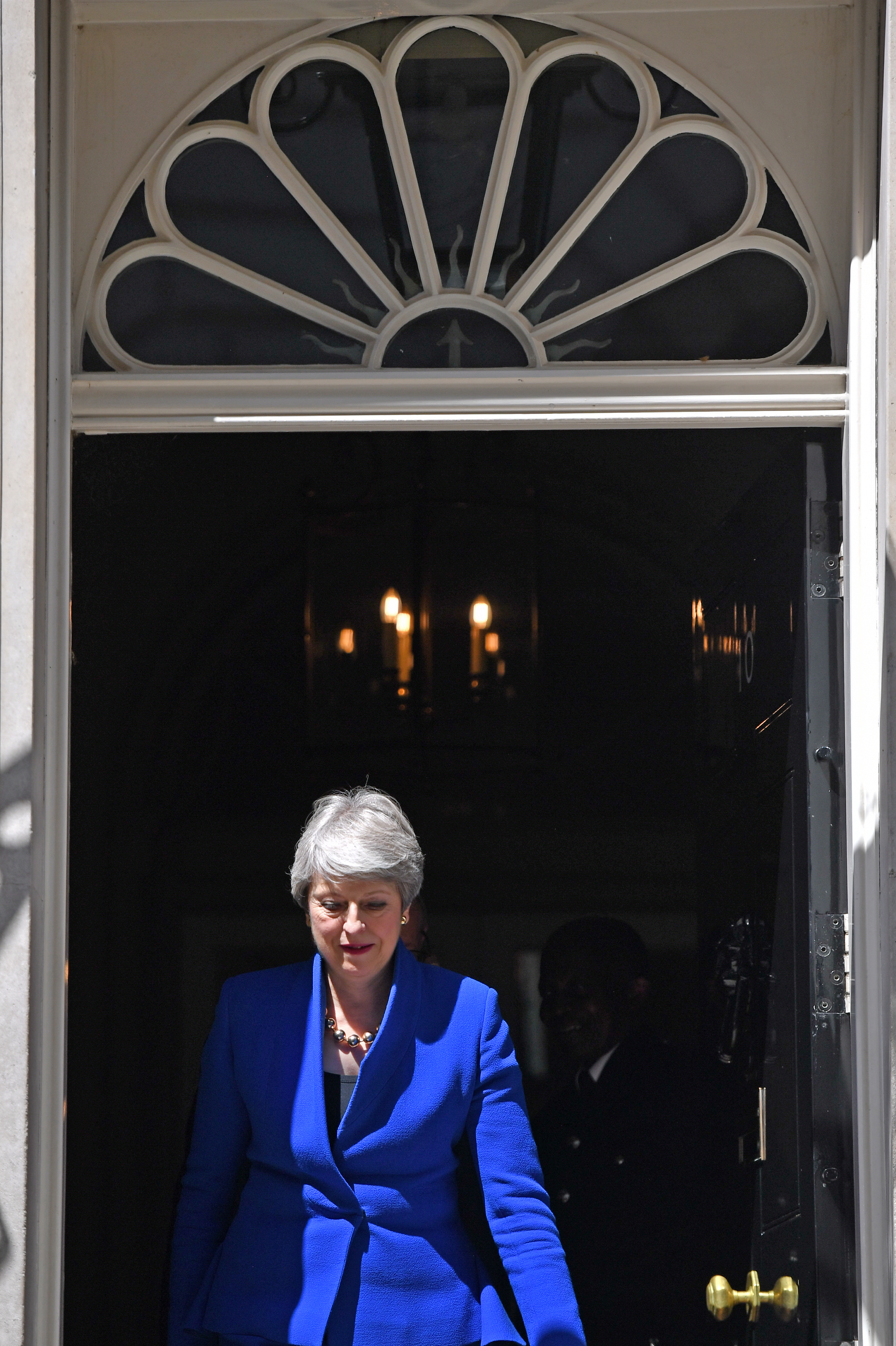 Outgoing Prime Minister Theresa May leaves 10 Downing Street, prior to a meeting at Buckingham Palace where she will hand in her resignation to Queen Elizabeth II.