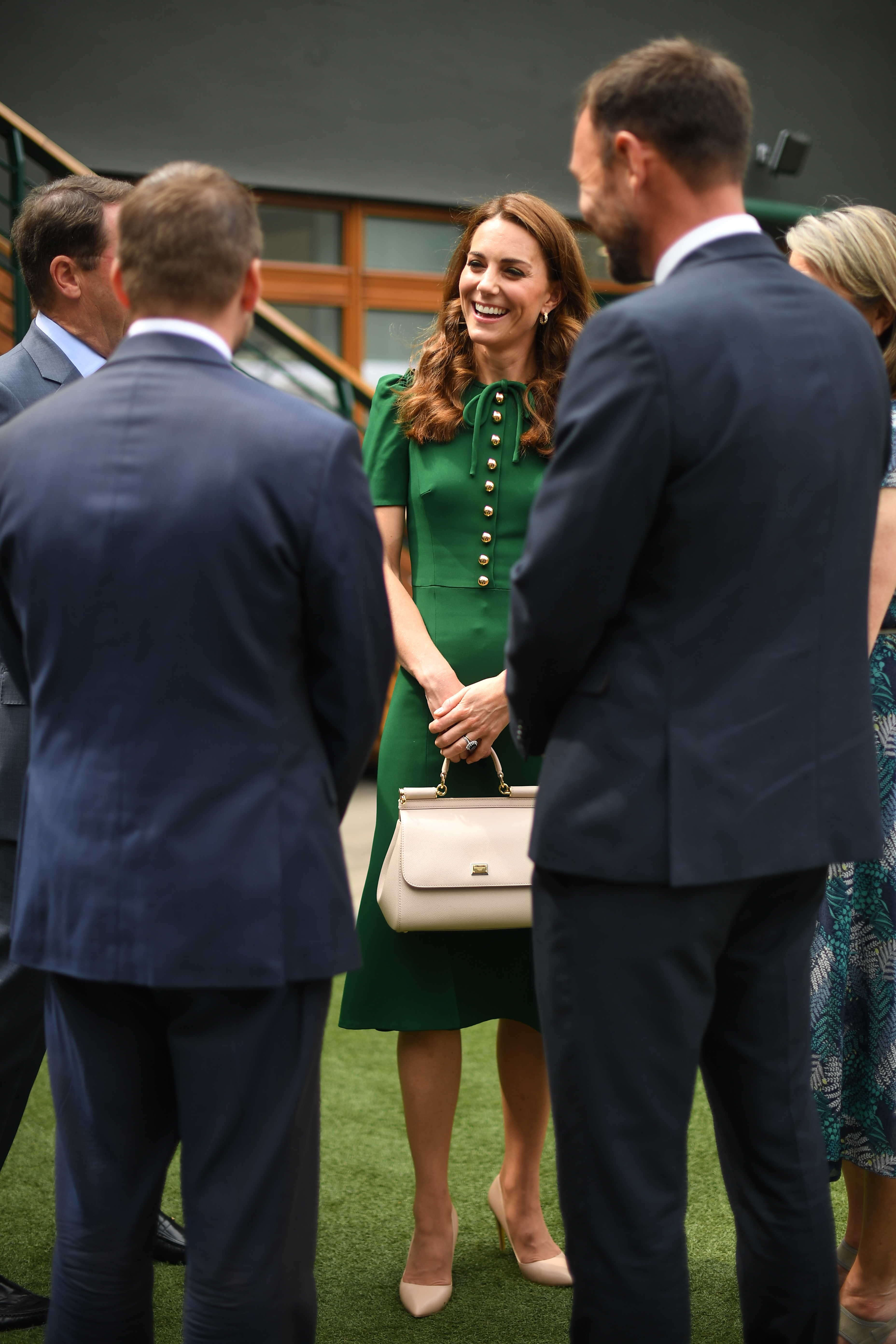 The Duchess of Cambridge ahead of the Women's Final on day twelve of the Wimbledon Championships at the All England Lawn Tennis and Croquet Club, Wimbledon.