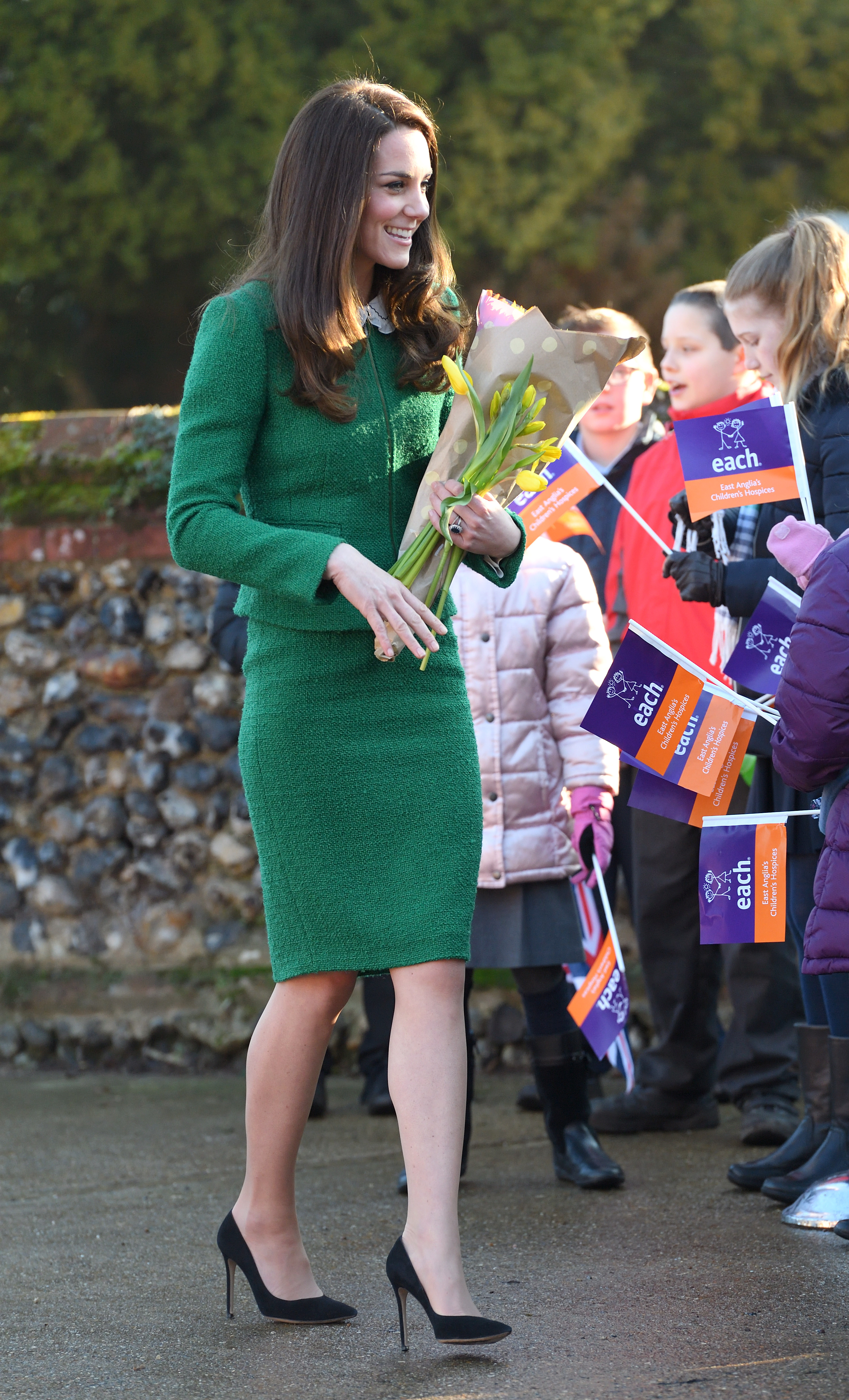 QUIDENHAM, NORFOLK - JANUARY 24:  Catherine, Duchess of Cambridge arrives to receive an update on The Nook Appeal at EACH on January 24, 2017 in Quidenham, Norfolk.  HRH is Royal Patron of EACH (East Anglia's Children's Hospices) and launched The Nook Appeal in 2014.  (Photo by Karwai Tang/WireImage)