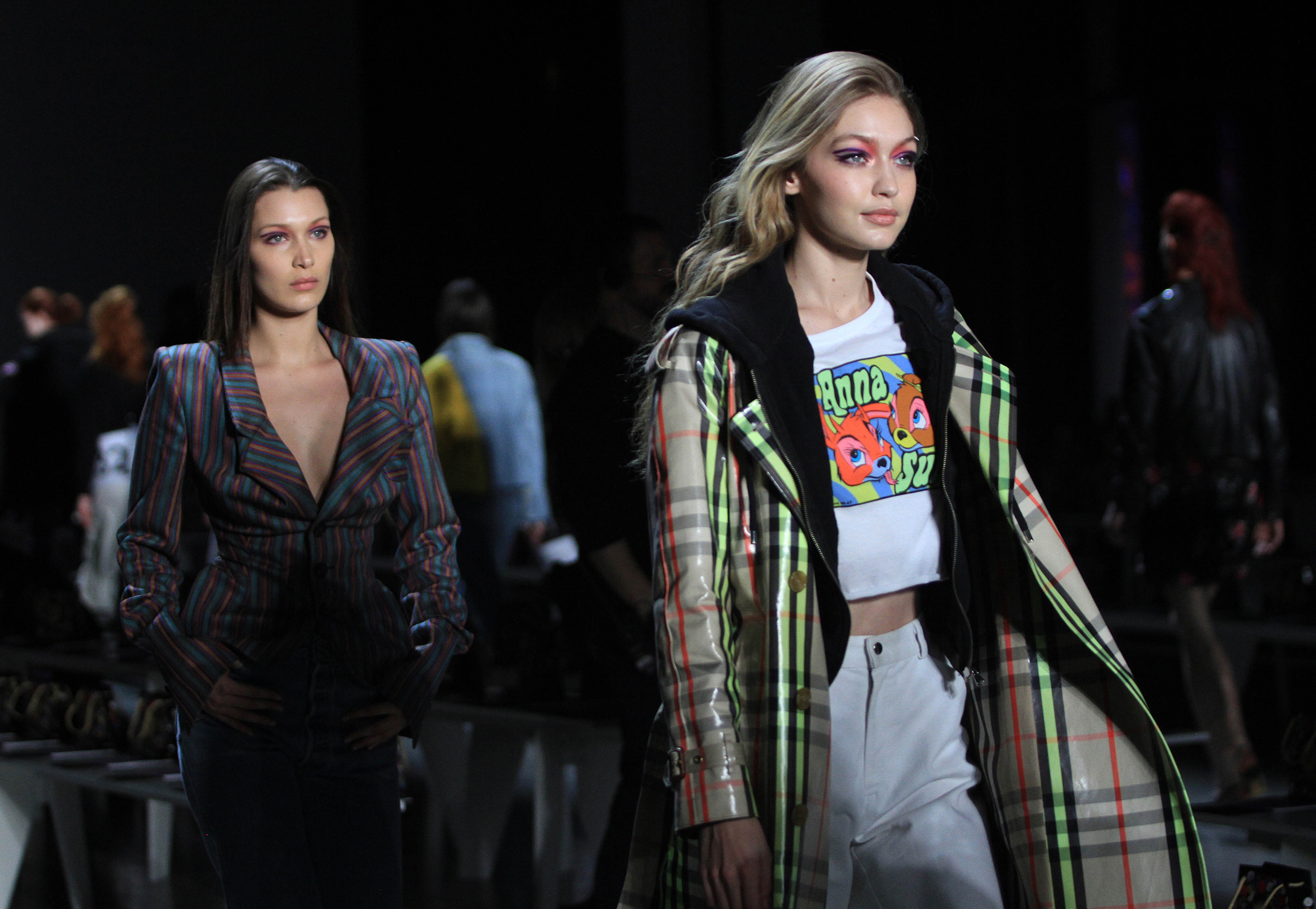 Photo by: Raoul Gatchalian/STAR MAX/IPx 2017 2/12/18 Bella Hadid and Gigi Hadid at rehearsals for The Anna Sui Fashion Show - Fall/Winter 2018 Collection in New York City.