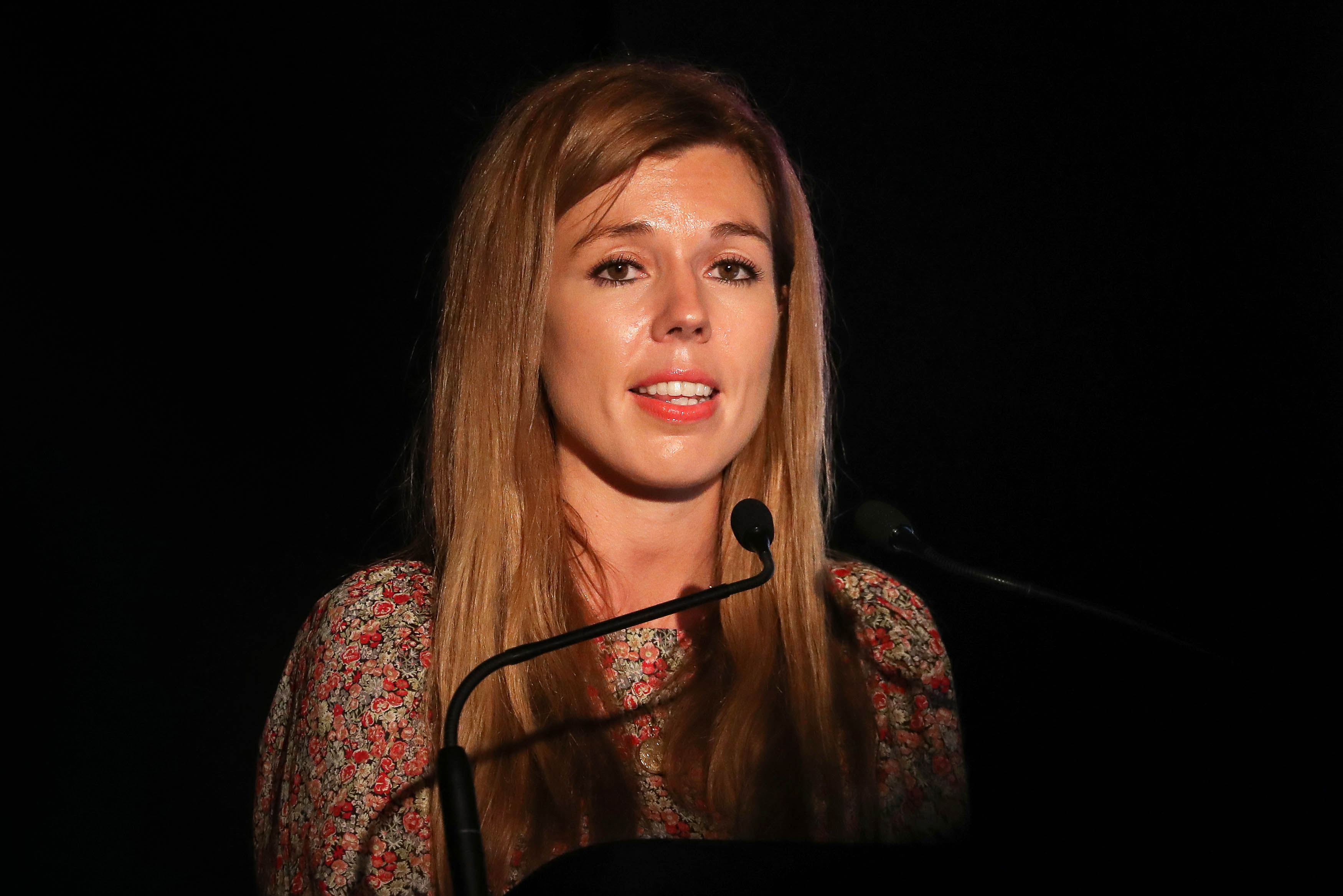Carrie Symonds, the partner of Prime Minister Boris Johnson, gives a speech at Birdfair, an environmental awareness conference, at the Rutland Water Nature Reserve in Egleton near Oakham.