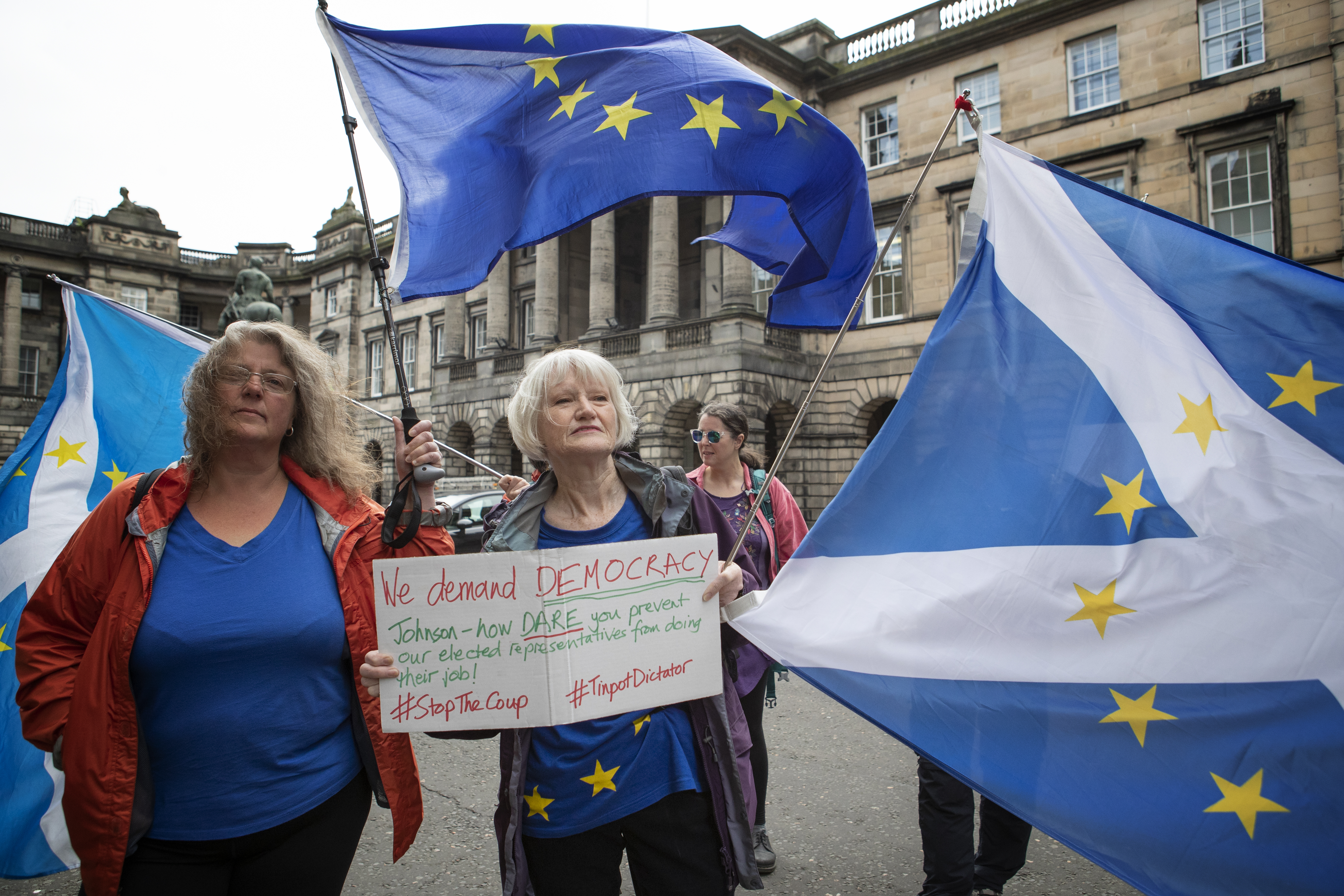 Pro-EU demonstrators outside the Court of Session in Edinburgh where Lord Doherty denied a bid by parliamentarians for an interim interdict through the Scottish legal system that would have prevented the UK Parliament being suspended.