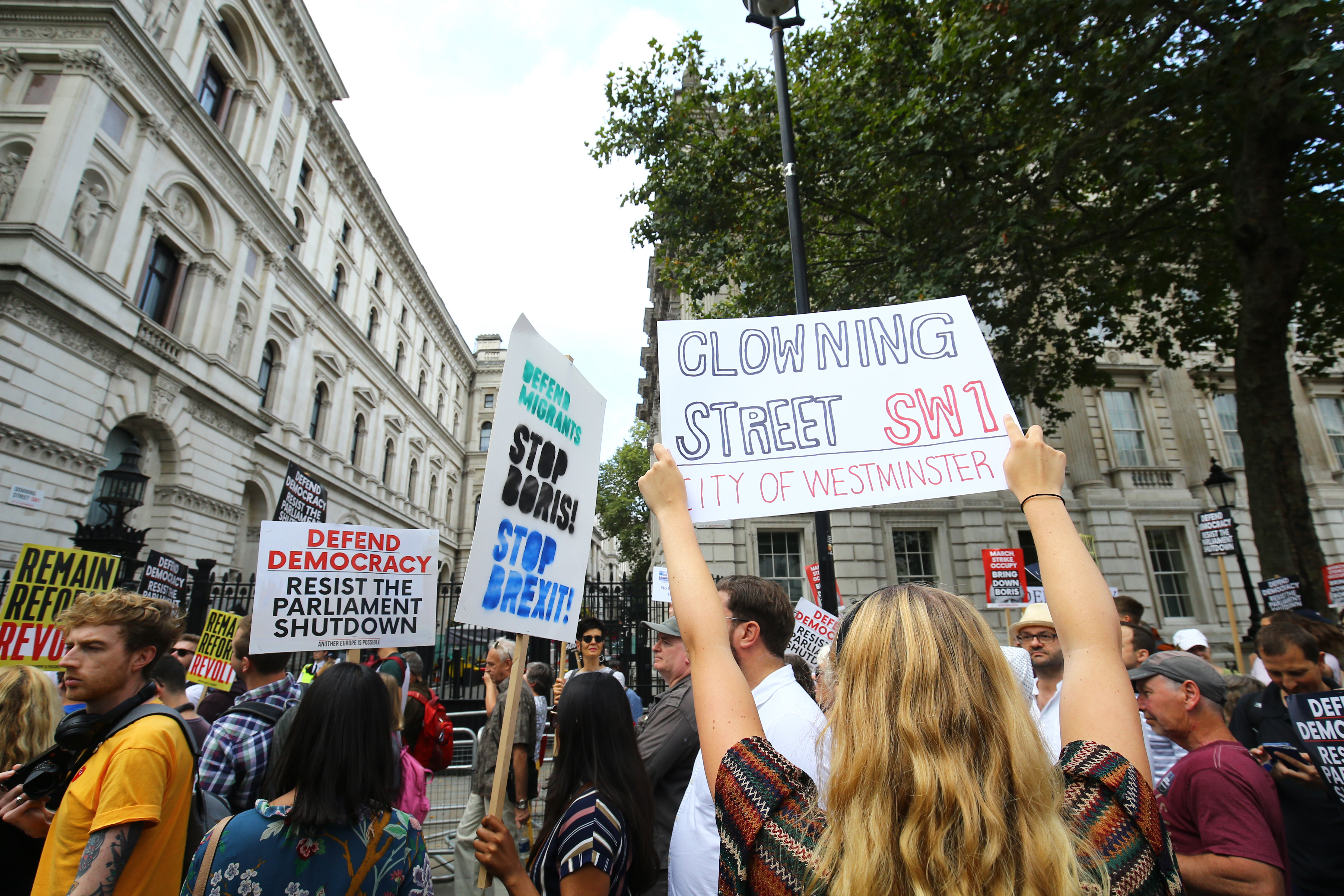 Protesters taking part in the 'Let Us Vote' day of action, organised by Another Europe is Possible campaign group in central London to demonstrate against Prime Minister Boris Johnson's decision to suspend Parliament for up to five weeks before a Queen's Speech on October 14. (Photo by Gareth Fuller/PA Images via Getty Images)