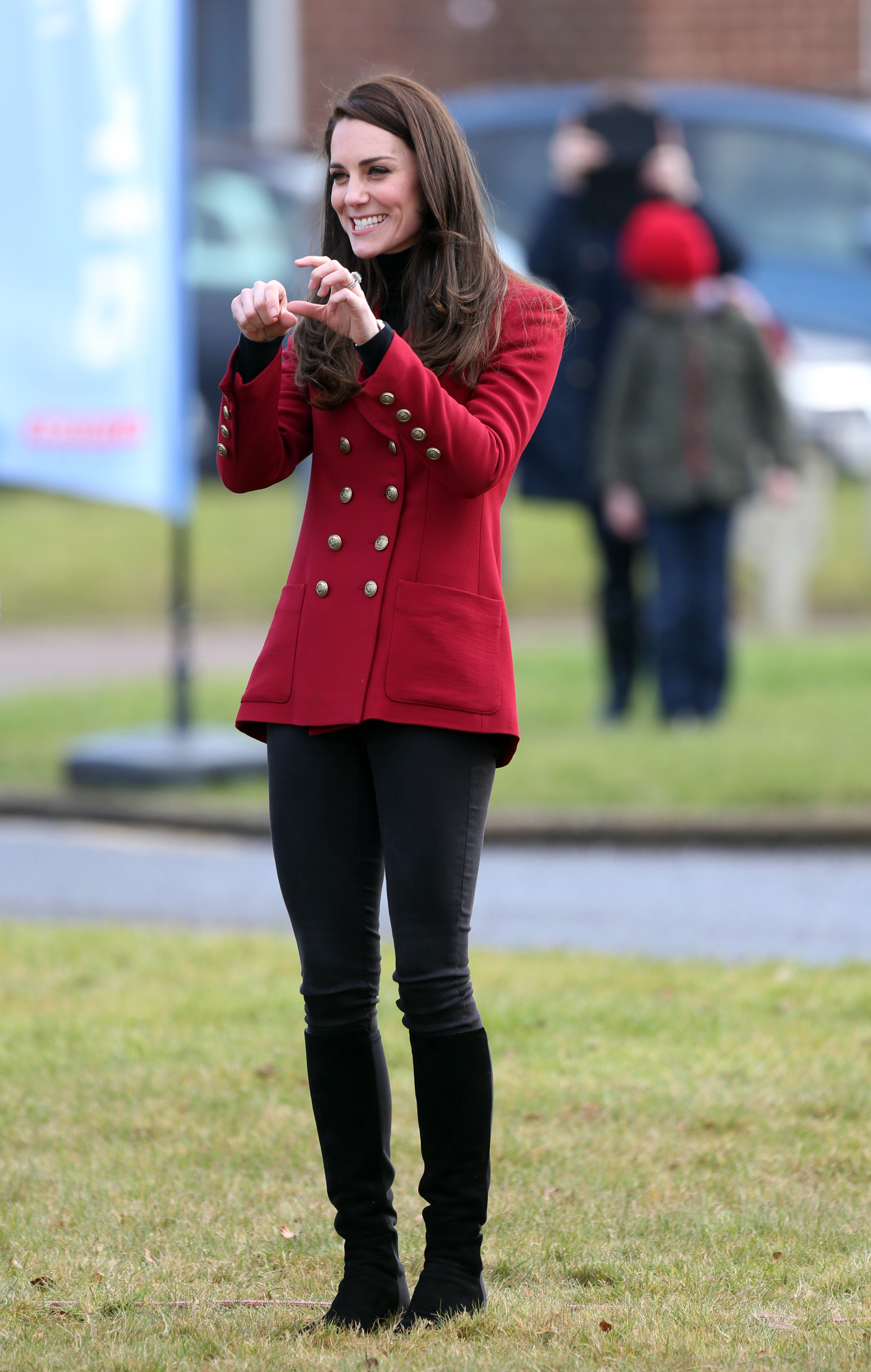 Photo by: KGC-22/STAR MAX/IPx 2/14/17 The Duchess of Cambridge visits RAF Wittering in Cambridgeshire to meet with local air cadets. Her Royal Highness became Royal Patron and Honorary Air Commandant of the Air Cadet Organisation, in December 2015.   Her Royal Highness joined the cadets as they viewed a Tutor aircraft, and participated in a personal development training session. The Duchess also had the chance to fly a flight simulator while there.
