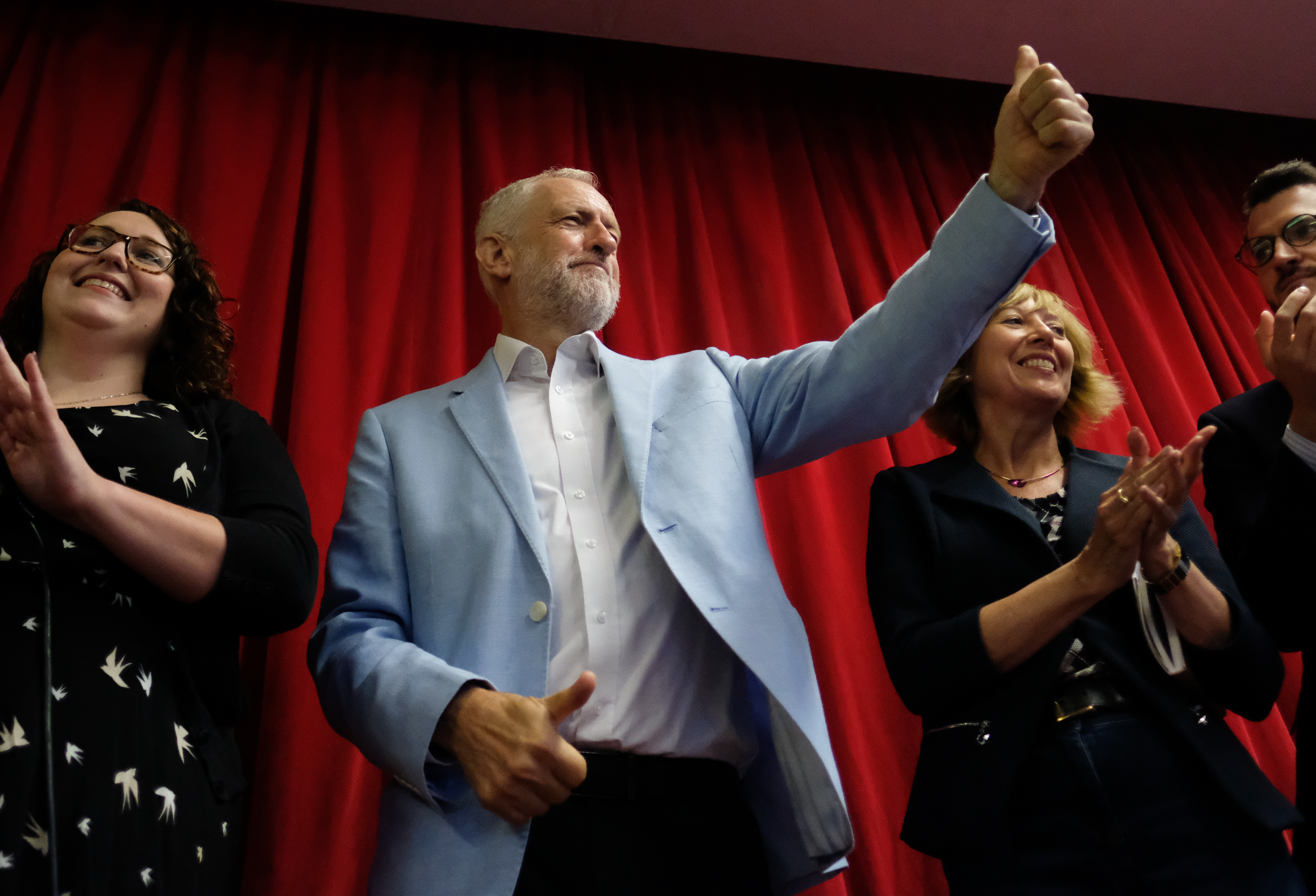 GLASGOW, SCOTLAND - AUGUST 31: Labour leader Jeremy Corbyn attends a campaign day at the Alive and Kicking Project building in Glasgow to speak about opposition against Boris Johnson and the UK government proroguing Parliament on August 31, 2019 in Glasgow, United Kingdom. Demonstrations and protests have already taken place and are planned across the country against Boris Johnson and a no-deal Brexit after the Prime Minister announced he would seek an extended suspension of Parliament ahead of a Queen's speech on October 14. (Photo by Ian Forsyth/Getty Images)