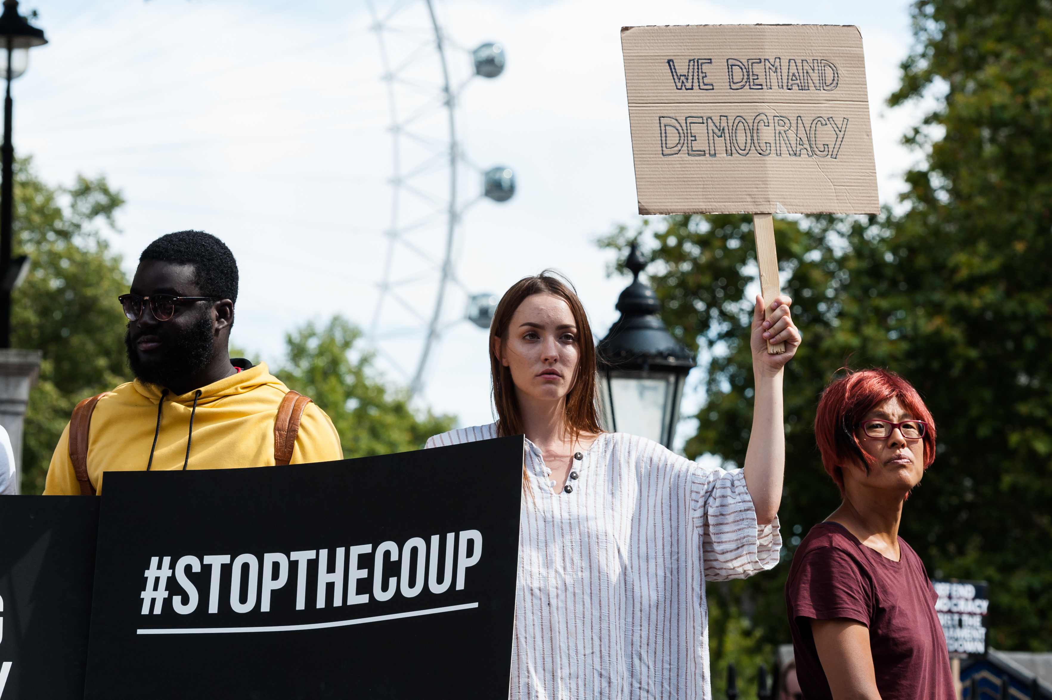 Thousands of demonstrators gather outside Downing Street on 31 August, 2019 in London, England to take part in Stop the Coup protests against the prorogation of the UK Parliament. Hundreds of thousands of people across major cities in the UK are expected to join protests against Boris Johnson's plans to suspend parliament for five weeks ahead of a Queens Speech on 14 October, which has limited the time available for MPs to legislate against a no-deal Brexit with the UK is set to leave the EU on the 31 October. (Photo by WIktor Szymanowicz/NurPhoto via Getty Images)
