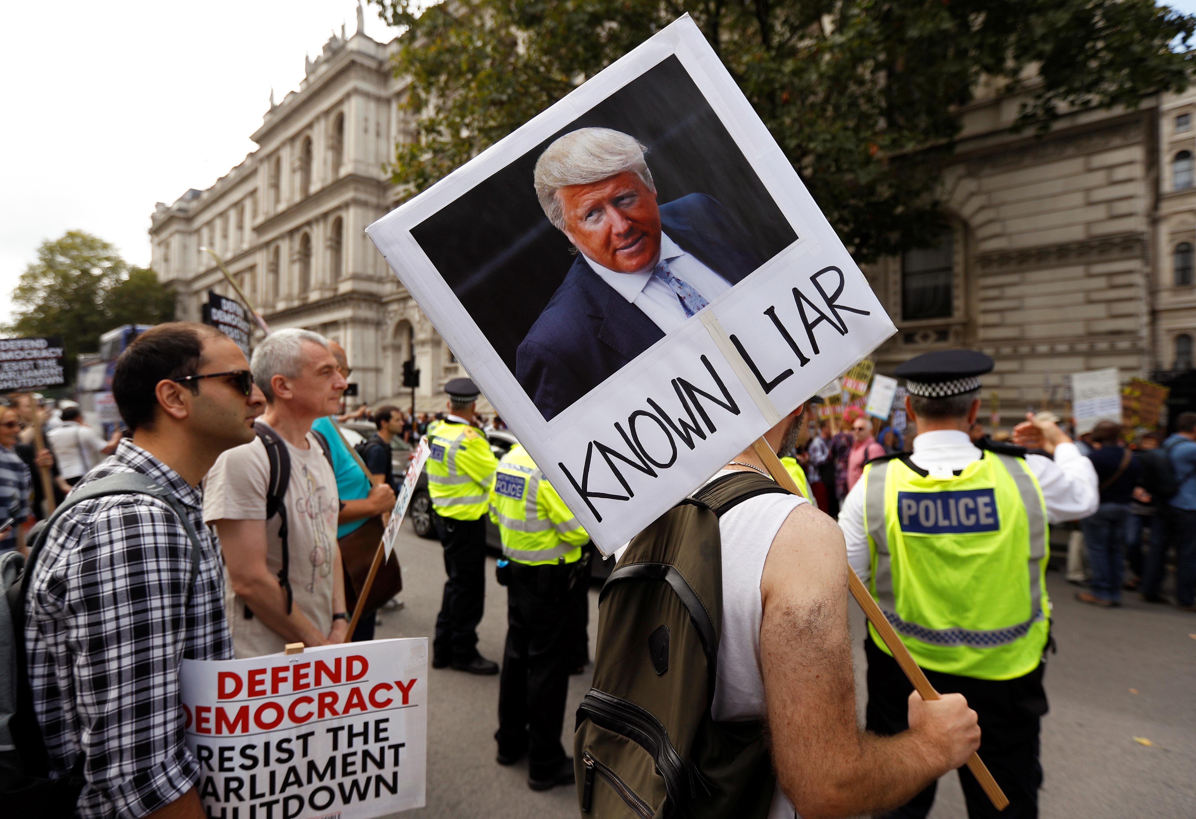 Anti-Brexit protestors demonstrate at Whitehall in London, Britain, August 31, 2019. REUTERS/Peter Nicholls