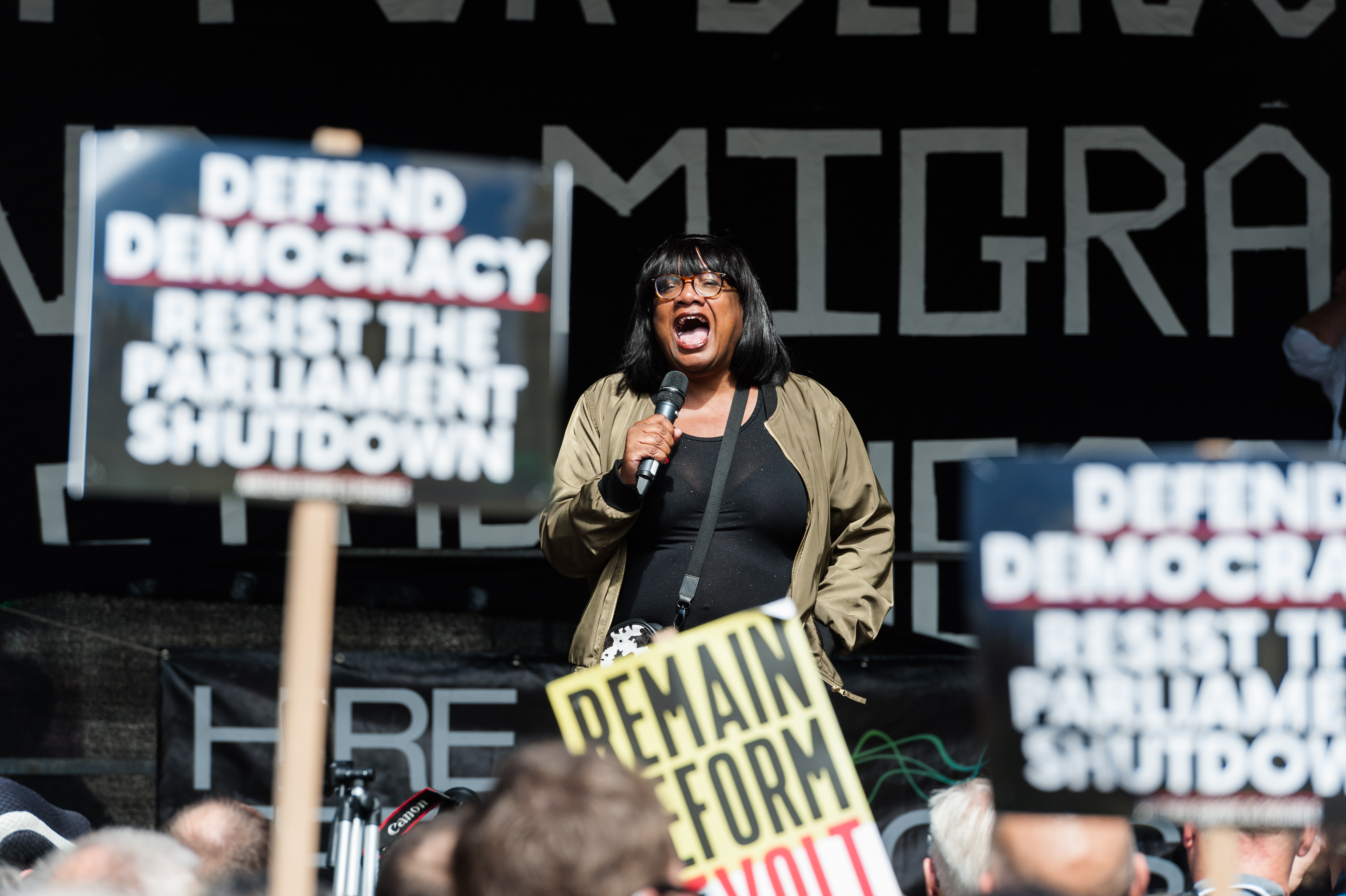 Shadow Home Secretary Diane Abbott speaks to thousands of demonstrators gathered outside Downing Street on 31 August, 2019 in London, England to take part in Stop the Coup protests against the prorogation of the UK Parliament. Hundreds of thousands of people across major cities in the UK are expected to join protests against Boris Johnson's plans to suspend parliament for five weeks ahead of a Queens Speech on 14 October, which has limited the time available for MPs to legislate against a no-deal Brexit with the UK is set to leave the EU on the 31 October. (Photo by WIktor Szymanowicz/NurPhoto via Getty Images)