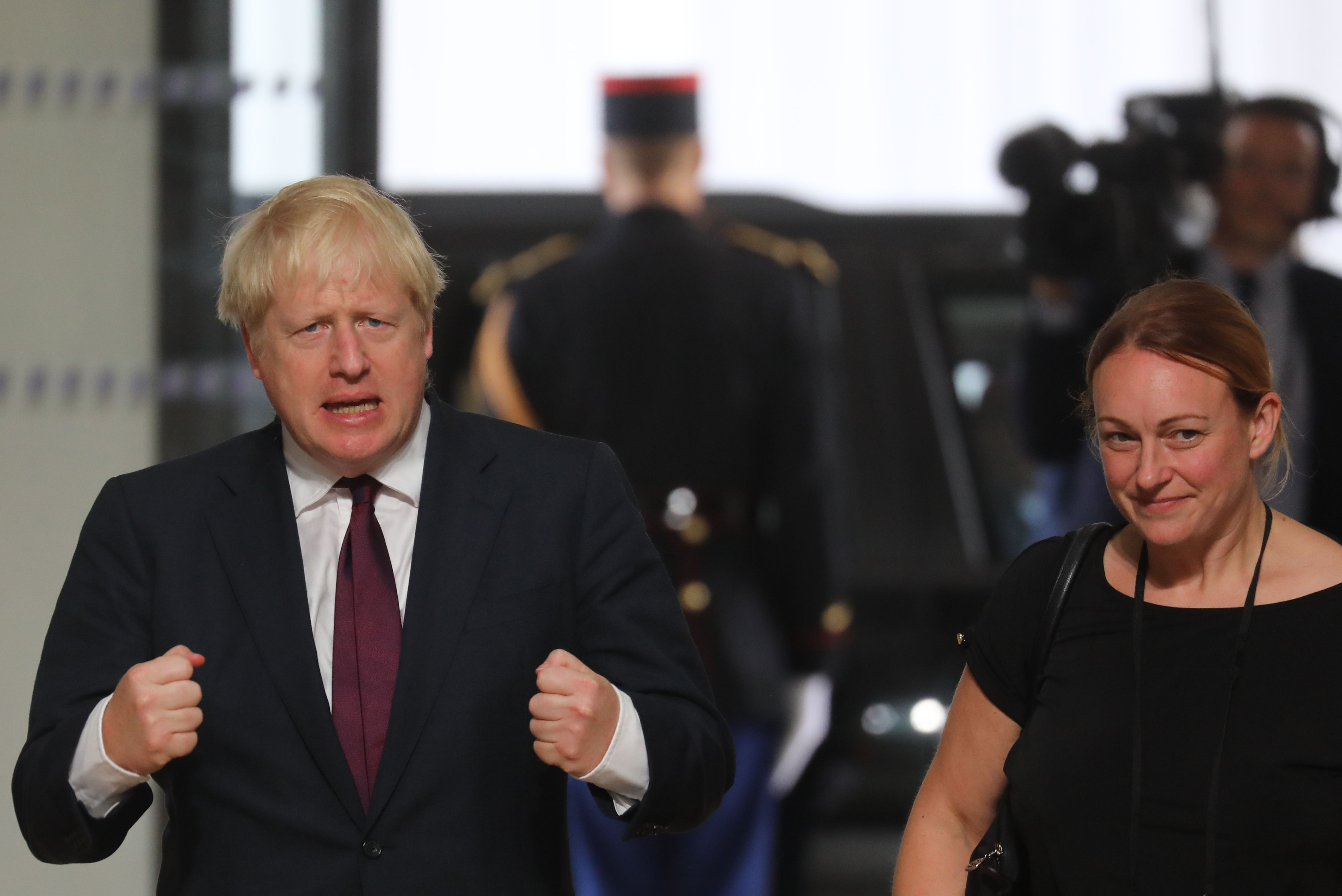 British Prime Minister Boris Johnson arrives with Foreign Office Head of Operations Shelley Williams-Walker at the Bellevue Palace in Biarritz, south-west France for lunch on August 25, 2019, on the second day of the annual G7 Summit attended by the leaders of the world's seven richest democracies, Britain, Canada, France, Germany, Italy, Japan and the United States. (Photo by Ludovic MARIN / POOL / AFP)        (Photo credit should read LUDOVIC MARIN/AFP/Getty Images)