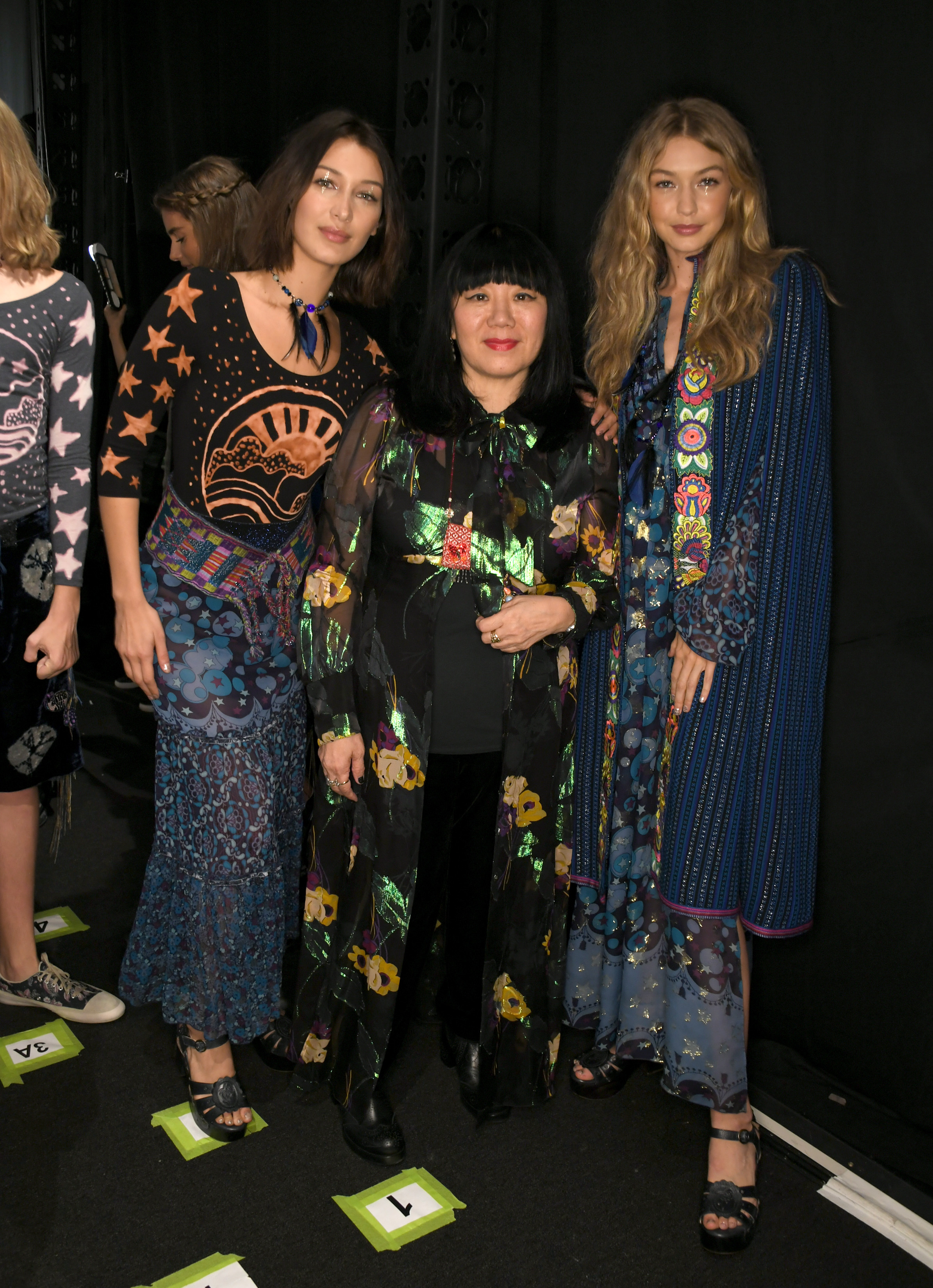 Bella Hadid, Anna Sui, Gigi Hadid backstage during the Anna Sui Spring 2018 Collection, held during NYFW at Skylight Clarkson Studios in New York City on Monday, September 11, 2017. (Photo by Elise Leclerc)