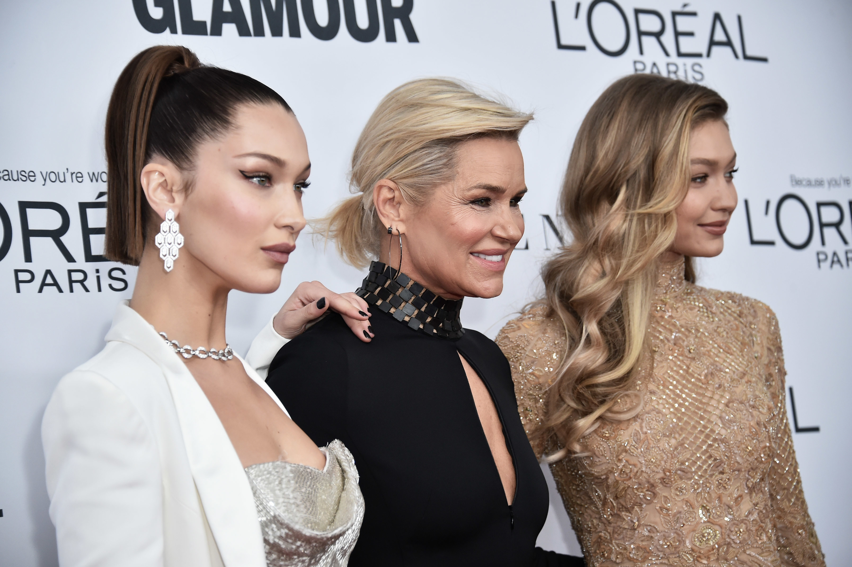 Bella Hadid, Yolanda Hadid, and Gigi Hadid attend the Glamour Women of the Year Awards at the Kings Theater in Brooklyn, New York City on November 13, 2017. (Photo by Steven Ferdman/Sipa USA)