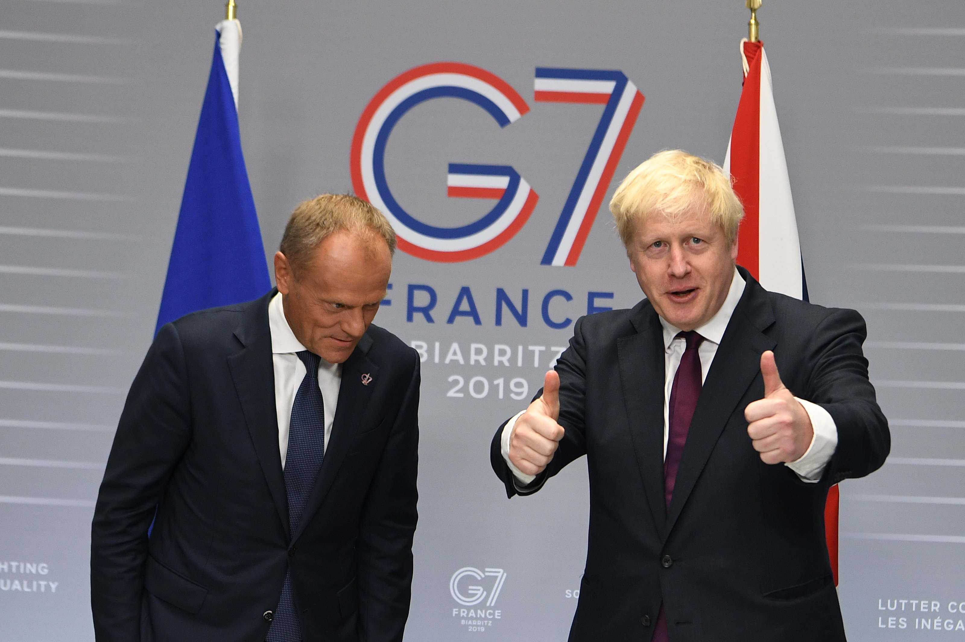 BIARRITZ, FRANCE - AUGUST 25: Britain's Prime Minister, Boris Johnson meets with President of the European Council, Donald Tusk at the G7 summit on August 25, 2019 in Biarritz, France. The French southwestern seaside resort of Biarritz is hosting the 45th G7 summit from August 24 to 26. High on the agenda will be the climate emergency, the US-China trade war, Britain's departure from the EU, and emergency talks on the Amazon wildfire crisis. (Photo by Andrew Parsons - Pool/Getty Images)