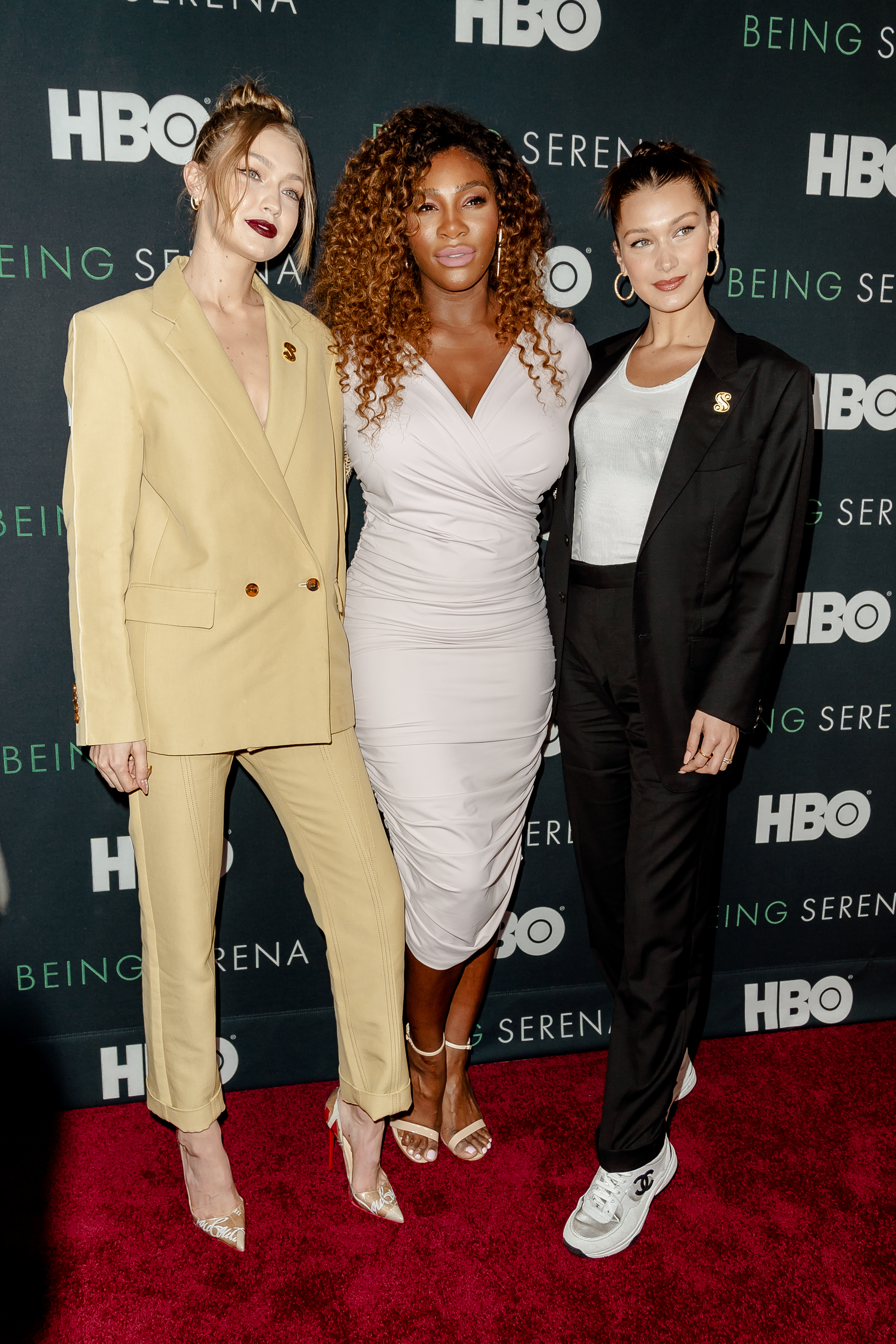 (L to R): Gigi Hadid, Serena Williams, and Bella Hadid are seen at arrivals for the New York premiere of the HBO documentary BEING SERENA at Time Warner Center in New York, NY, USA on April 25, 2018. (Photo by Albin Lohr-Jones/Sipa USA)