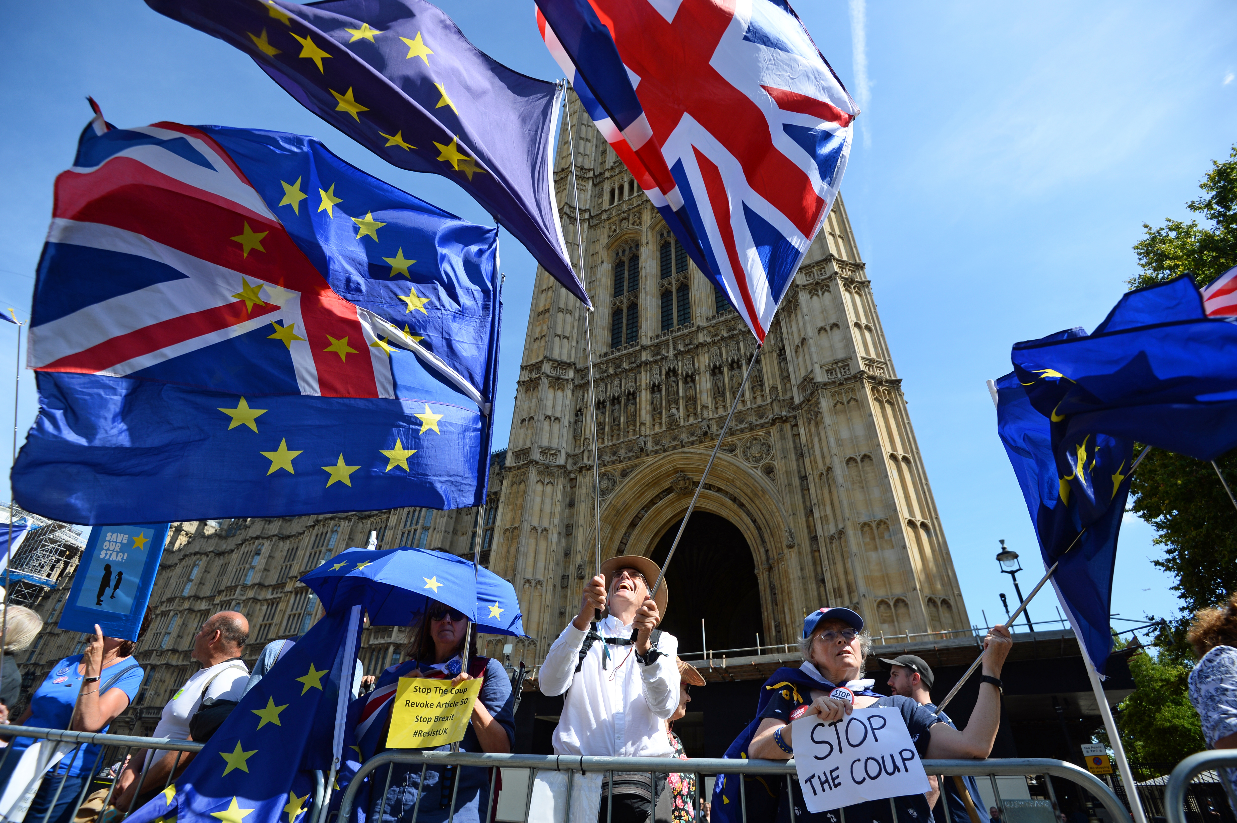 Brexit protesters in Westminster, London.