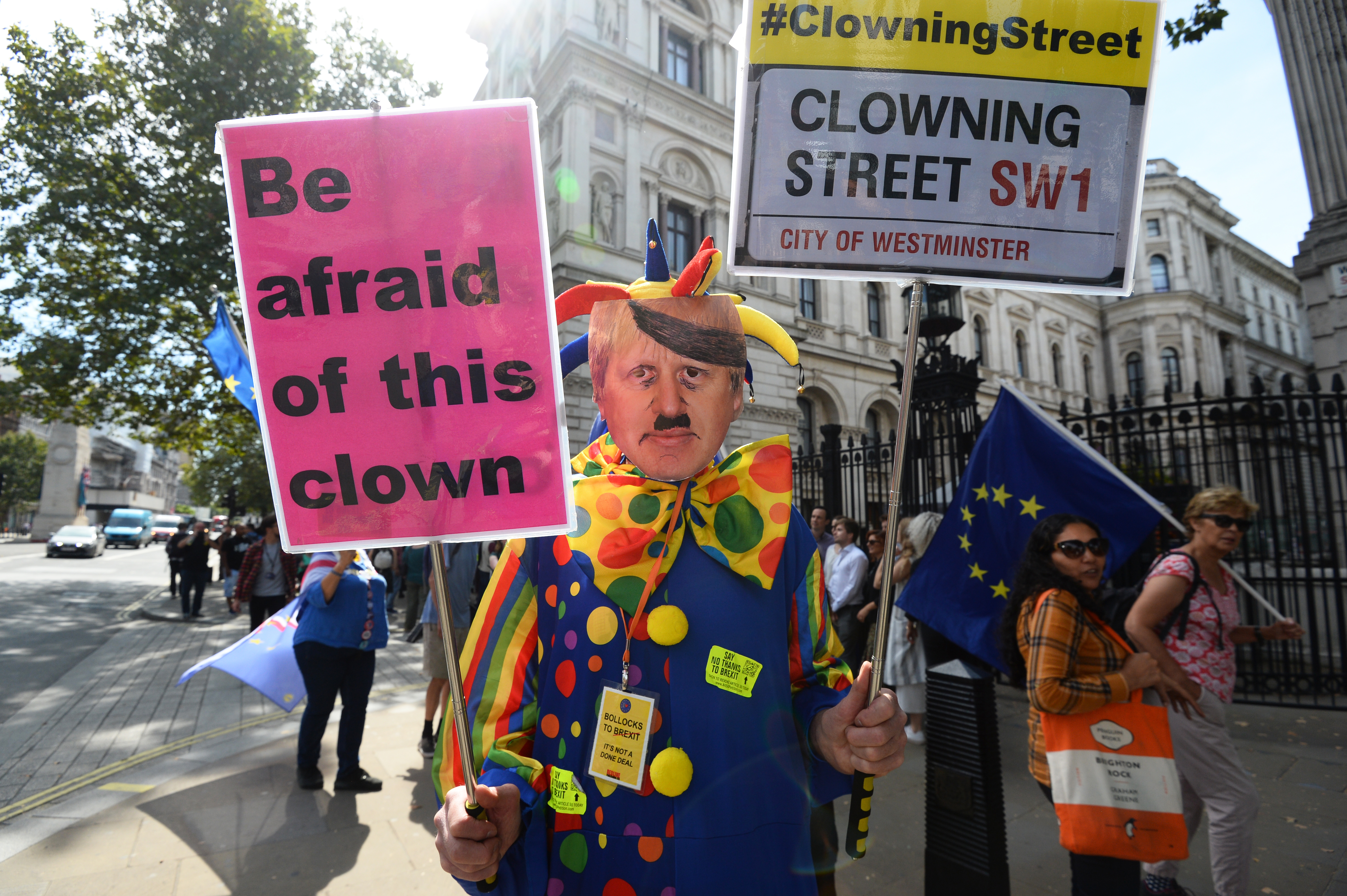 A Brexit protester in Westminster, London.