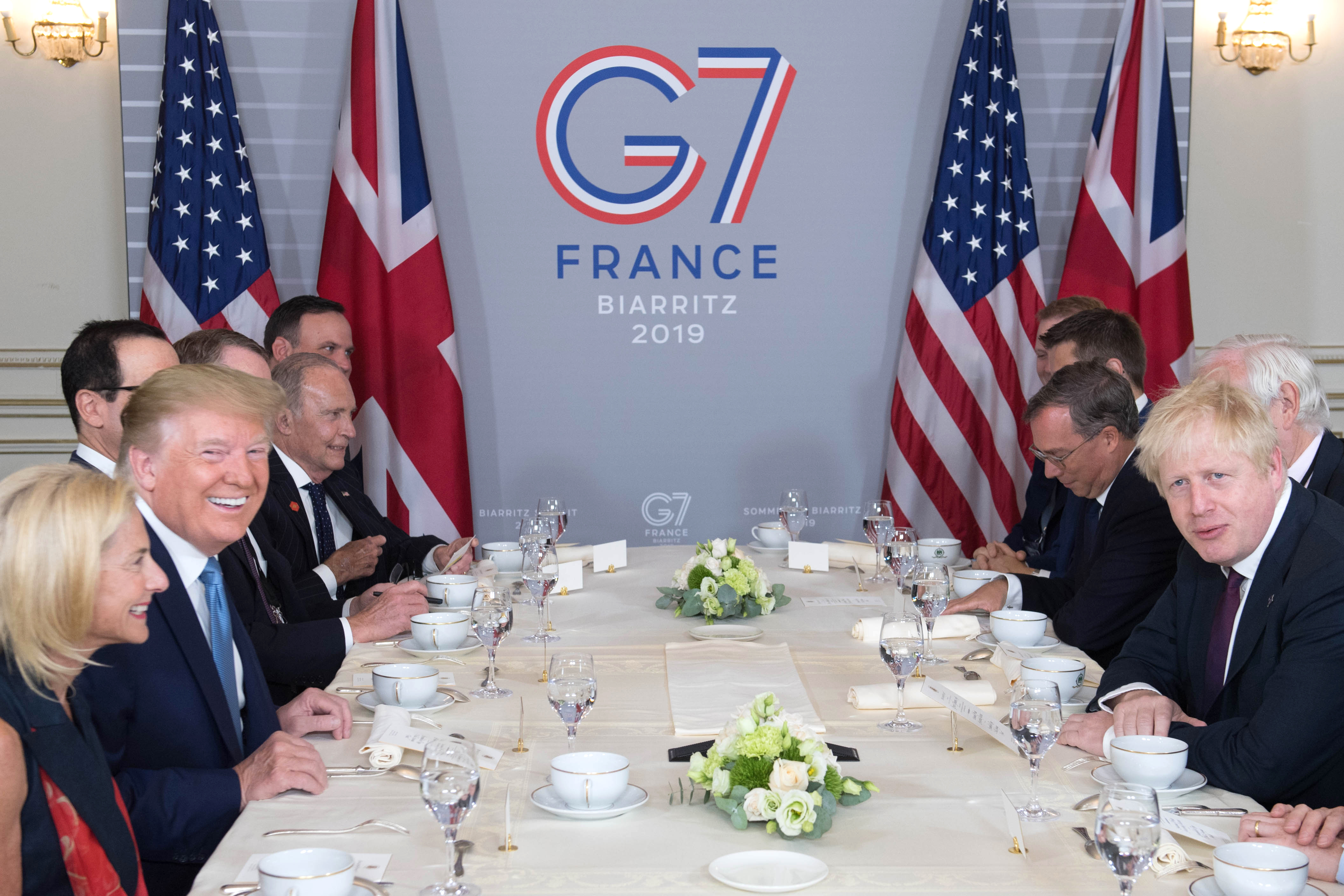 BIARRITZ, FRANCE - AUGUST 25: U.S. President Donald Trump and Britain's Prime Minister Boris Johnson attend a bilateral meeting during the G7 summit on August 25, 2019 in Biarritz, France. The French southwestern seaside resort of Biarritz is hosting the 45th G7 summit from August 24 to 26. High on the agenda will be the climate emergency, the US-China trade war, Britain's departure from the EU, and emergency talks on the Amazon wildfire crisis. (Photo by Stefan Rousseau - Pool/Getty Images)