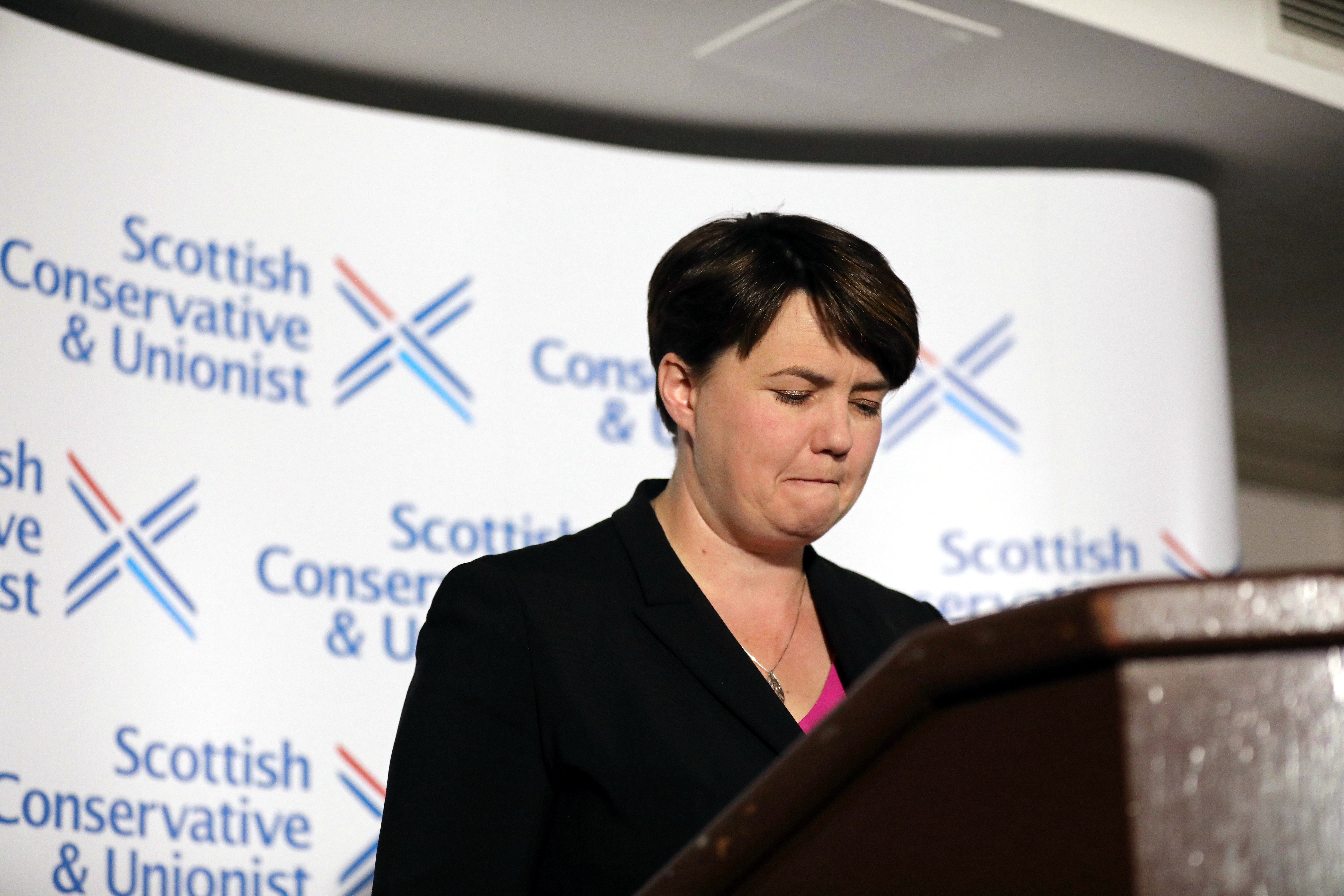 """Leader of the Scottish Conservatives Ruth Davidson during a press conference at Holyrood Hotel in Edinburgh, following her announcement that she has resigned as leader of the Scottish Conservatives, saying holding the post had been the """"privilege of my life""""."""