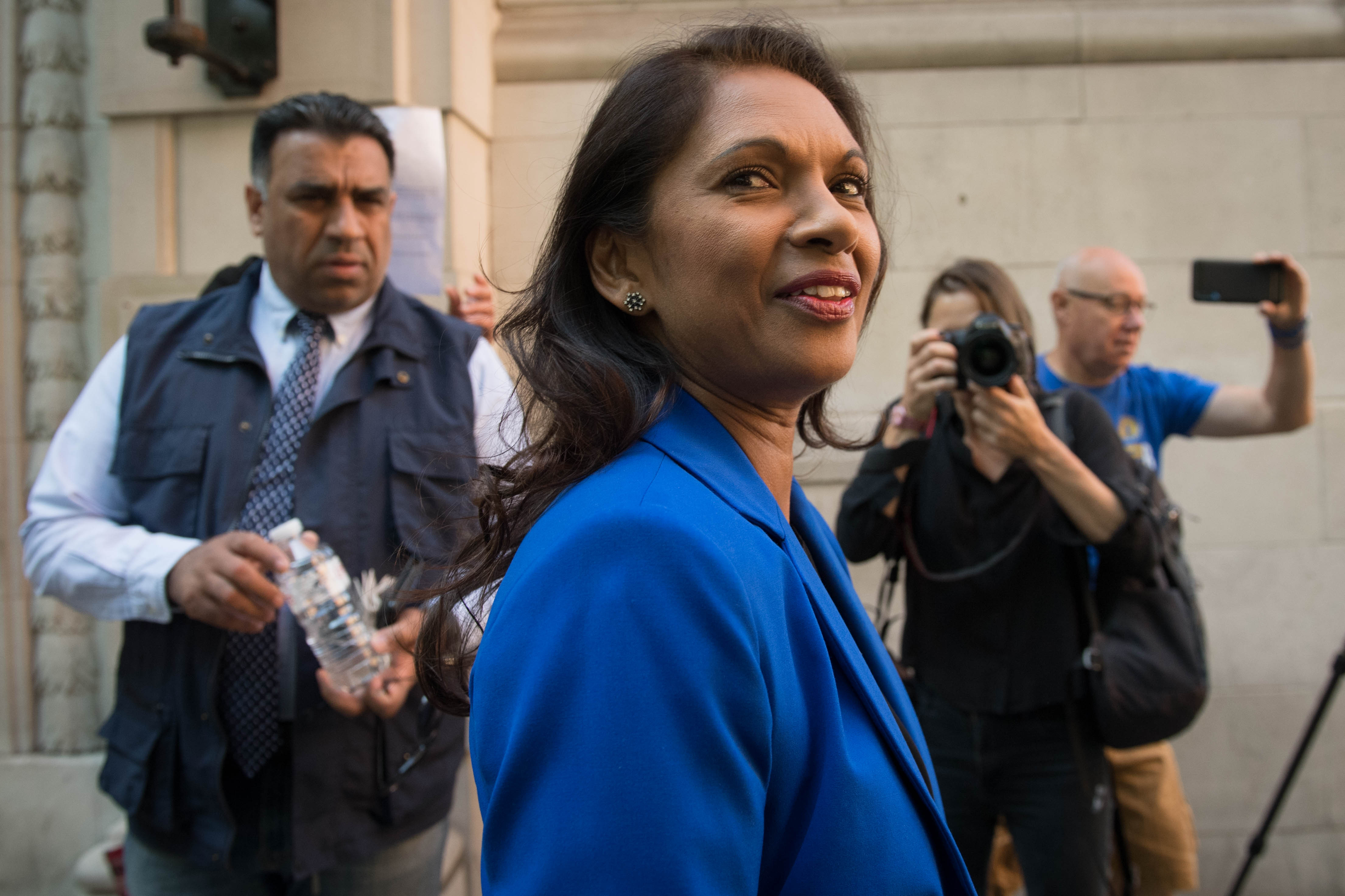 Anti Brexit campaigner Gina Miller leaves Millbank in Westminster, London.