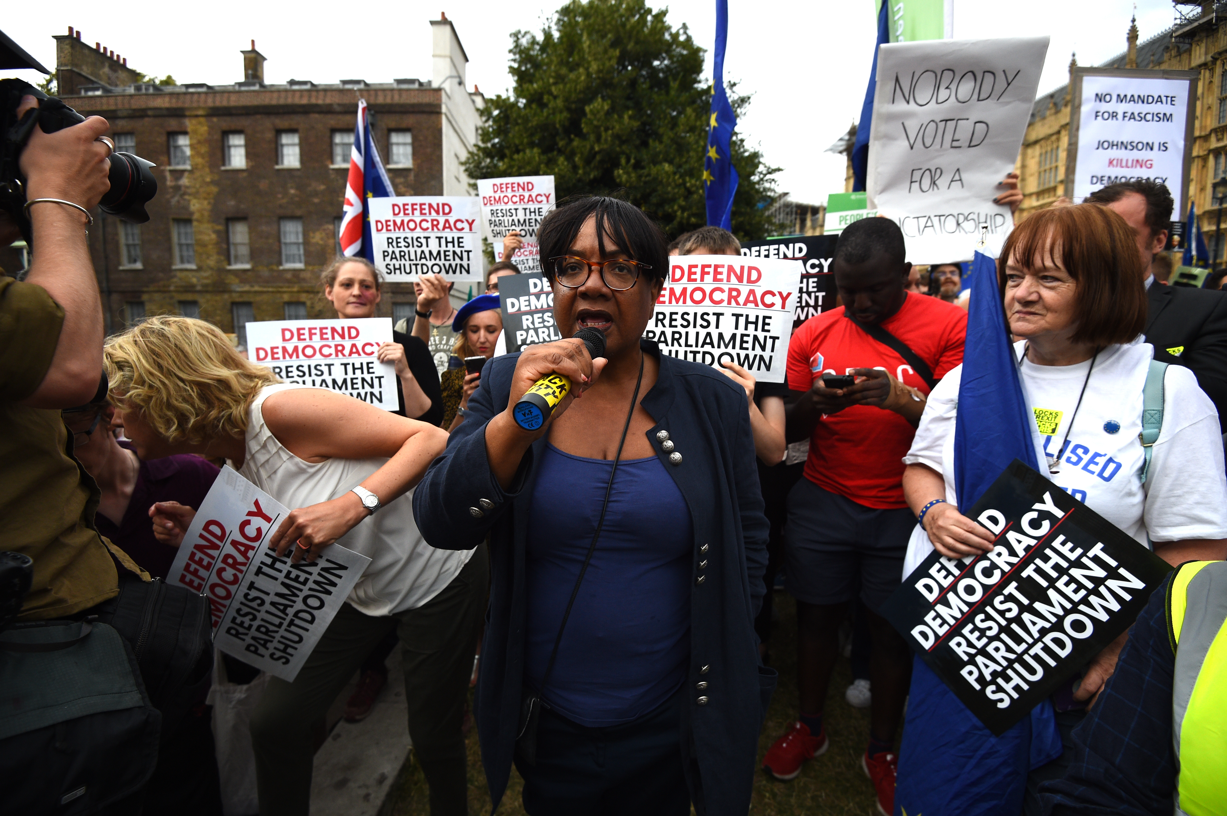 Shadow home secretary Diane Abbott addresses protesters outside the Houses of Parliament, London, to demonstrate against Prime Minister Boris Johnson temporarily closing down the Commons from the second week of September until October 14 when there will be a Queen's Speech to open a new session of Parliament.