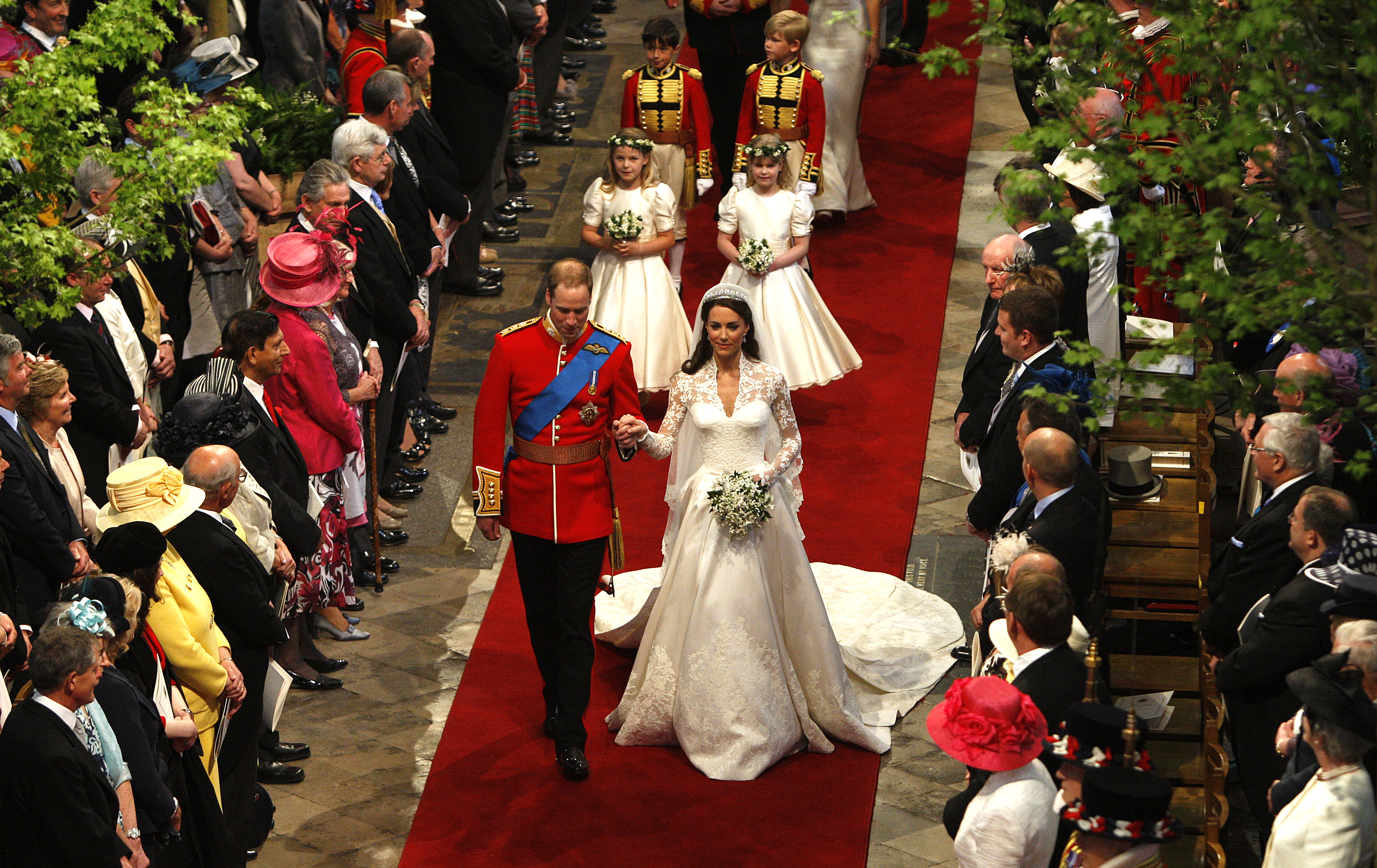 FILE - This April 29, 2011 file photo shows Prince William and Catherine, the Duchess of Cambridge, walking down the aisle at Westminster Abbey following their marriage in central London. Sony Electronics and the Nielsen television research company collaborated on a survey ranking TV's most memorable moments. Other TV events include, the Sept. 11 attacks in 2001, Hurricane Katrina in 2005, the O.J. Simpson murder trial verdict in 1995 and the death of Osama bin Laden in 2011.  (AP Photo/RICHARD POHLE, Pool)