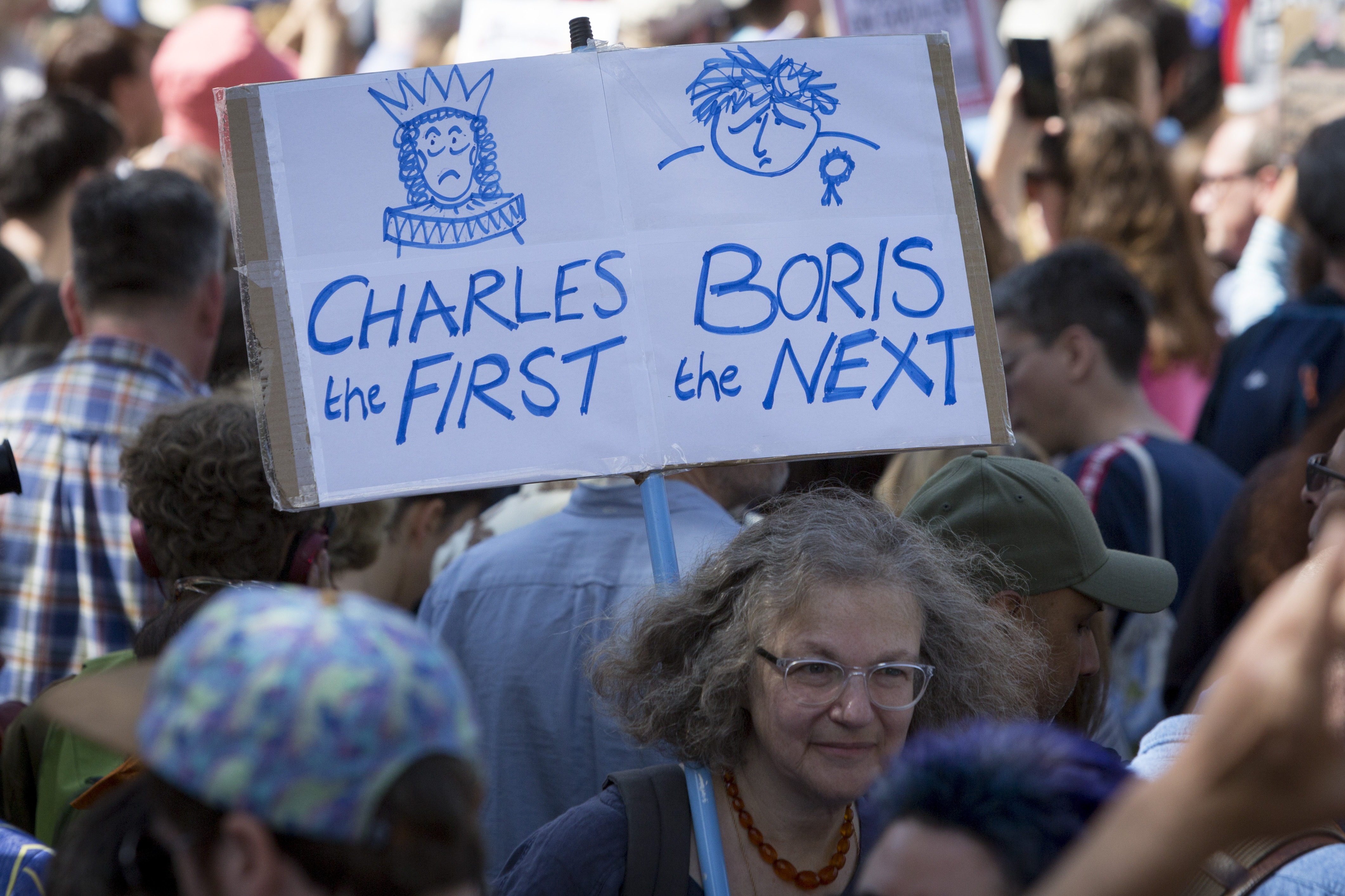With a reference to the English Civil War which saw King Charles suspending parliament then eventual;ly being executed, pro-EU Remain protesters march to 'Stop the Coup' in Whitehall, near Downing Street, at the end of a week that saw Prime Minister Boris Johnson ask Queen Elizabeth for permission to suspend (prorogue) the British Parliament during the final stages of his Brexit negotiations with the European Union, in Brussels, on 31st August 2019, in Westminster, London, England. (Photo by Richard Baker / In Pictures via Getty Images)