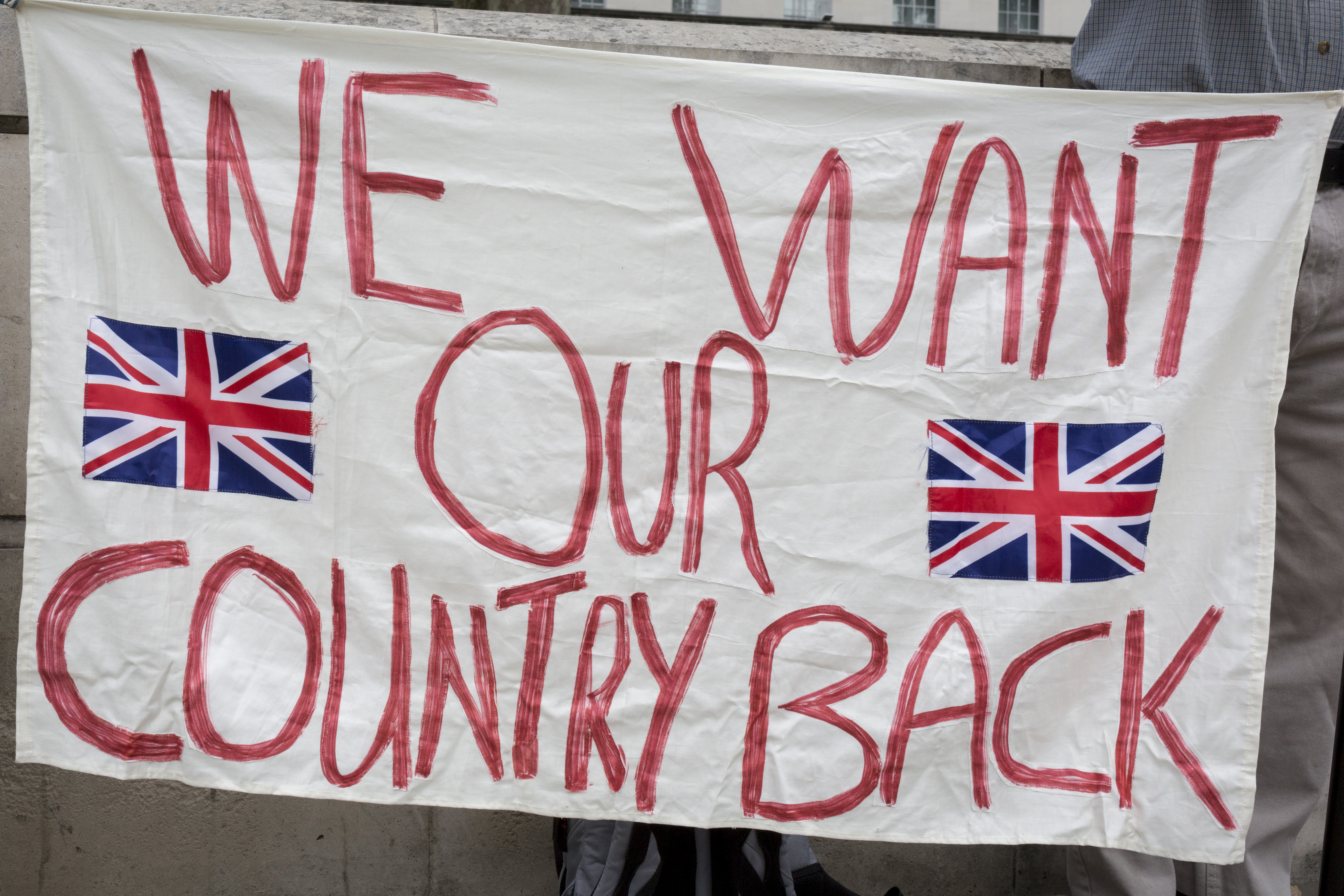 On the day that British Prime Minister Boris Johnson sought to have Parliament suspended by Queen Elizabeth, days after MPs return to work in September - and only a few weeks before the Brexit deadline, Leave voters protest with their We Want Our Country Back banners opposite the Cabinet Office where daily Brexit contingency planning meetings take place, on 28th August 2019, in Whitehall, Westminster, London, England. (Photo by Richard Baker / In Pictures via Getty Images)