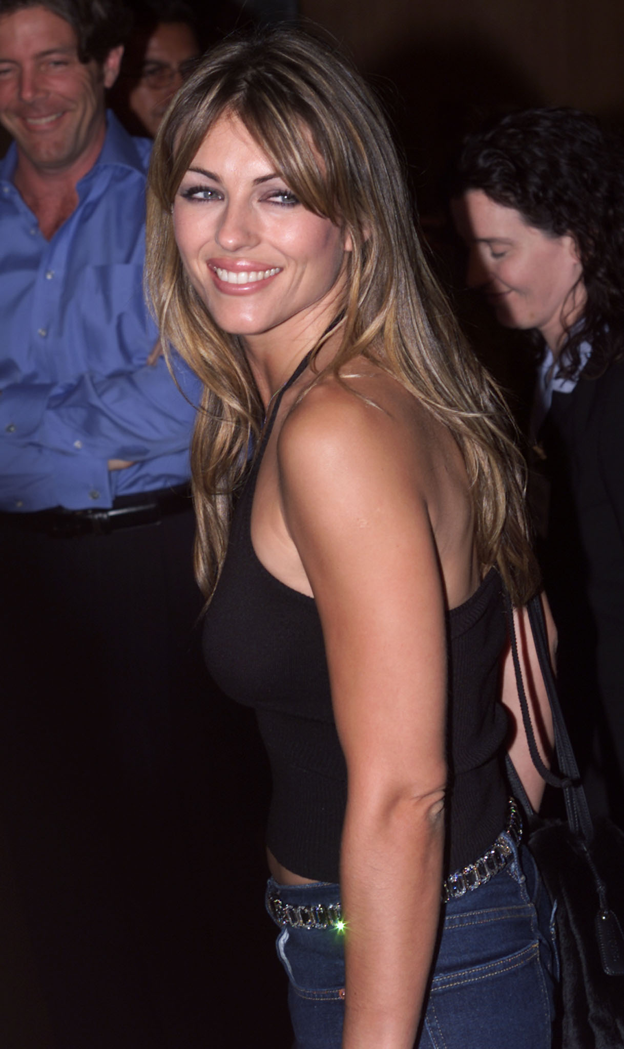 """Actress and model Elizabeth Hurley arrives as a guest at a party following the premiere of the new film """"Best in Show"""" September 19, 2000 in Hollywood, California. [The film is a comedy about eccentric dog owners gearing up for the canine showdown of their lives, the Mayflower Dog Show.  ]"""