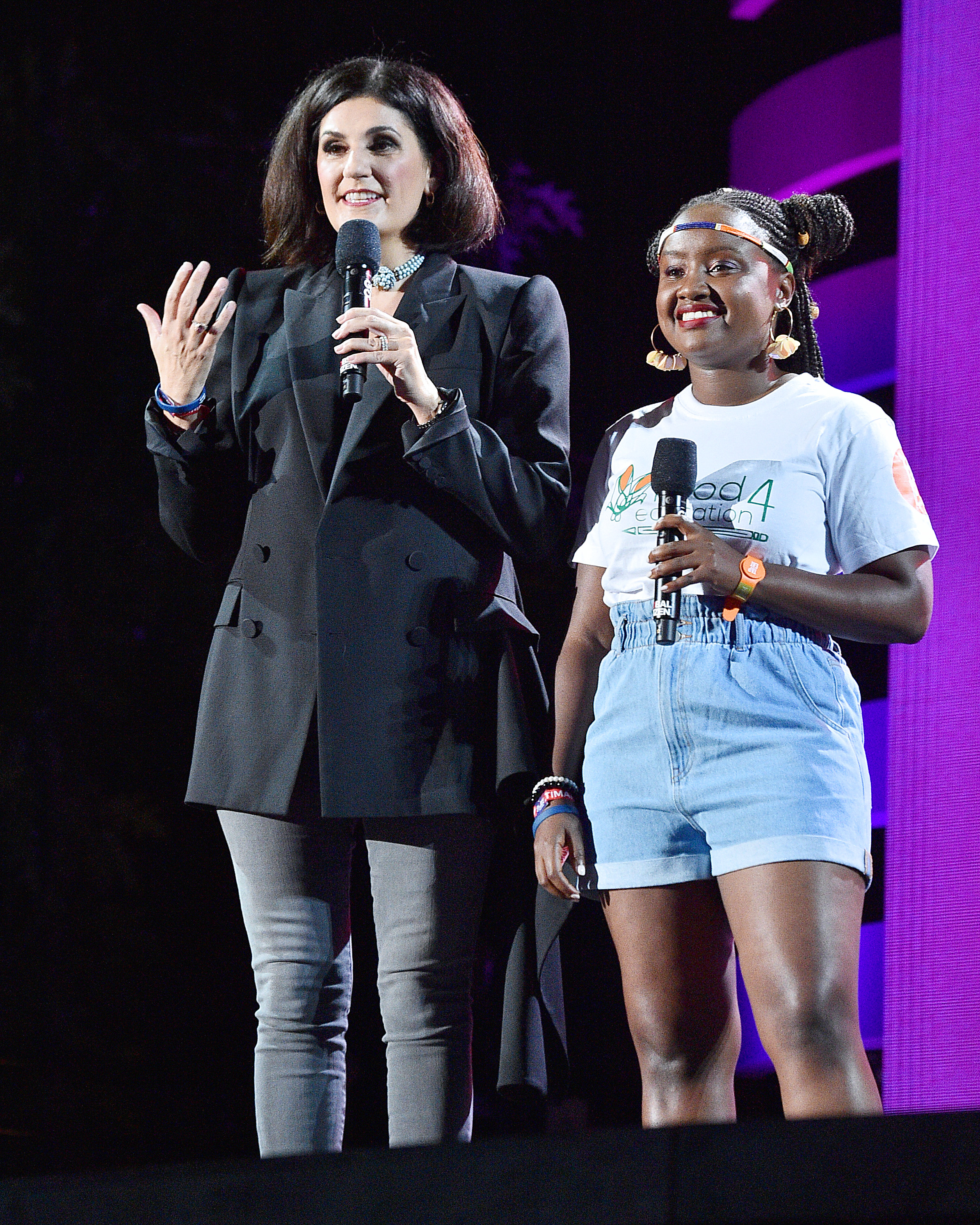 NEW YORK, NEW YORK - SEPTEMBER 28: Cisco EVP and CPO Fran Katsoudas and Founder & Executive Director Youth Leadership & Food for Education Wawira Njiru speak onstage during the 2019 Global Citizen Festival: Power The Movement in Central Park on September 28, 2019 in New York City. (Photo by Theo Wargo/Getty Images for Global Citizen)