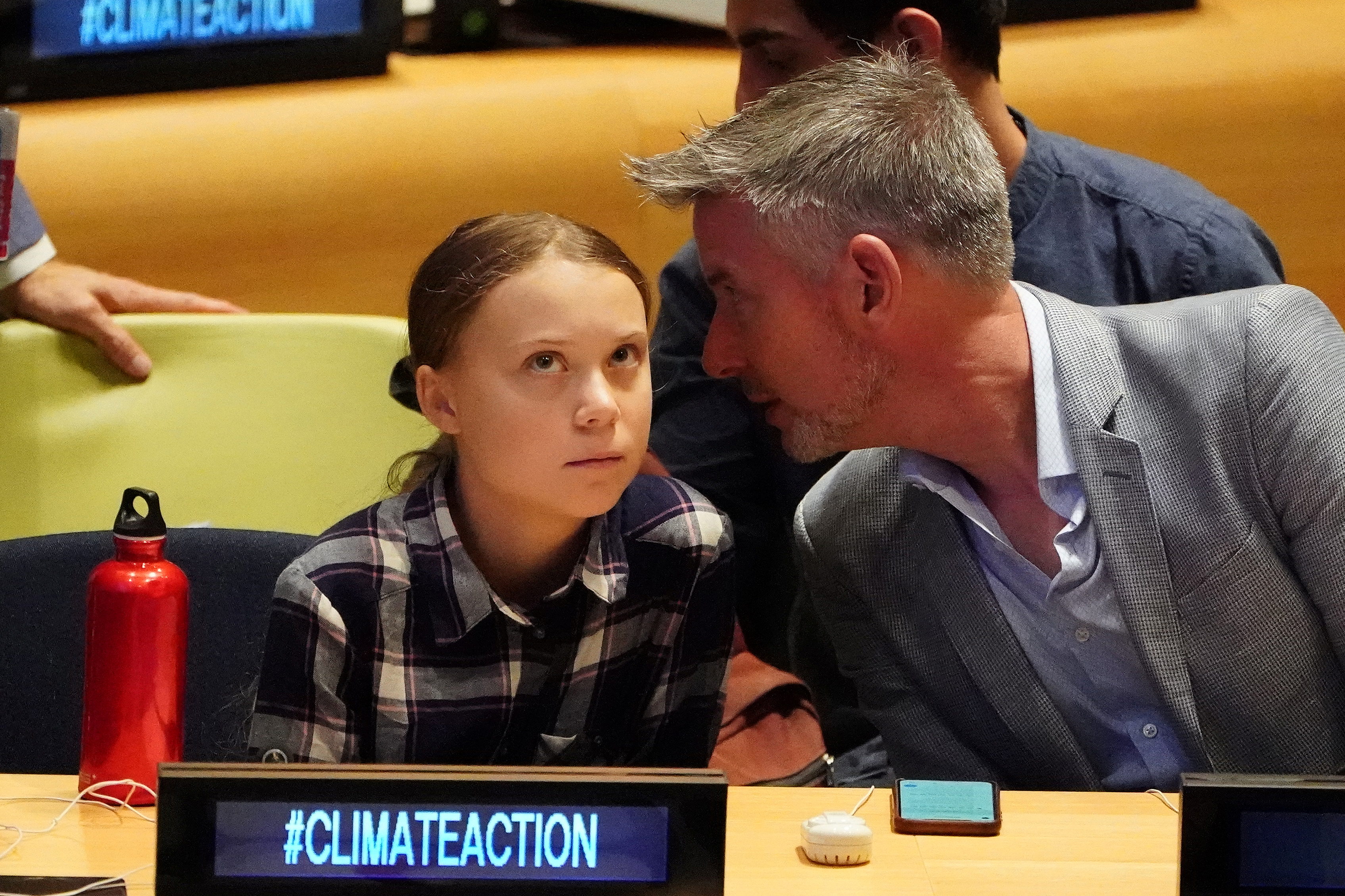 Swedish environmental activist Greta Thunberg appears at the Youth Climate Summit at United Nations HQ in the Manhattan borough of New York, New York, U.S., September 21, 2019. REUTERS/Carlo Allegri