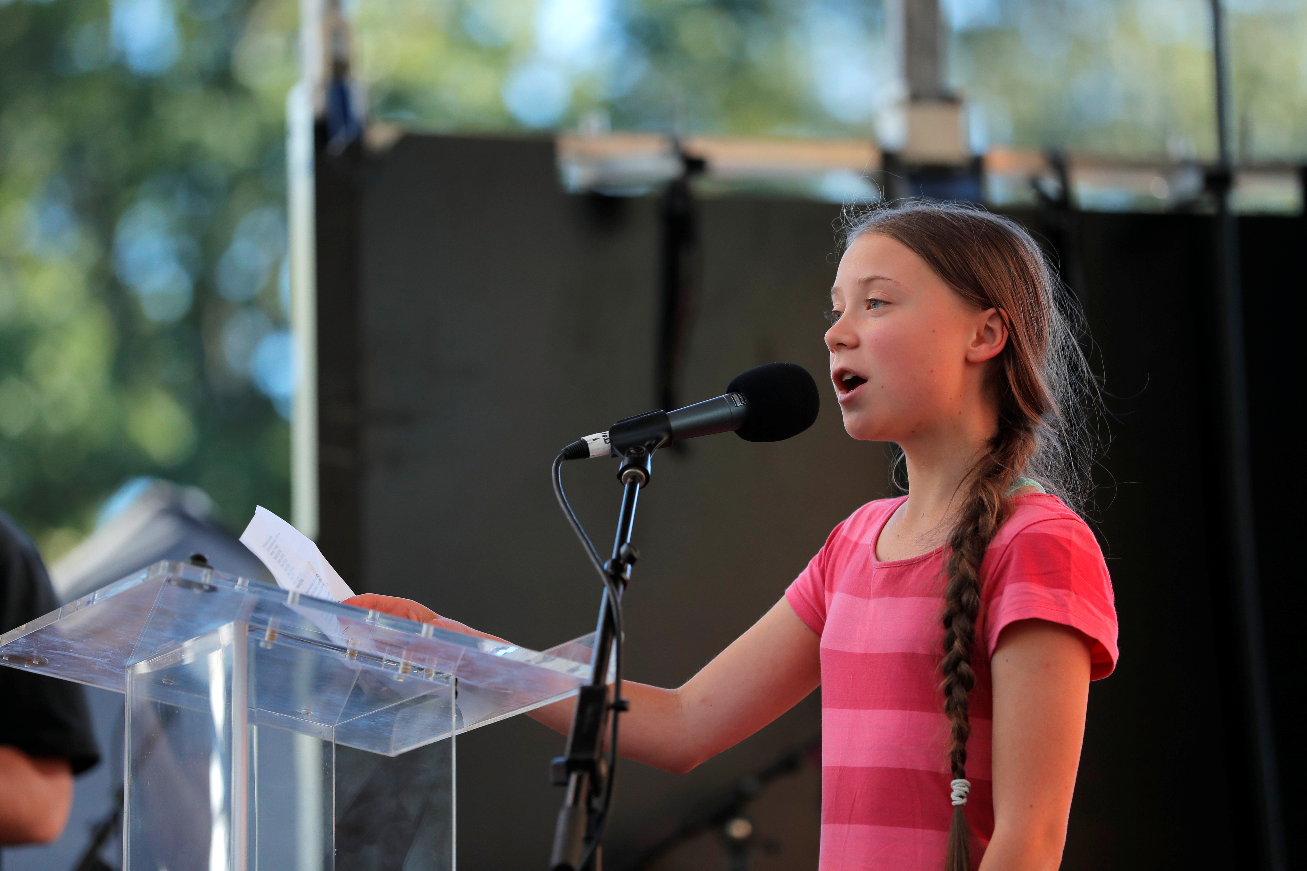 Sixteen year-old Swedish climate activist Greta Thunberg speaks to a large crowd of demonstrators at the Global Climate Strike in lower Manhattan in New York, U.S., September 20, 2019. REUTERS/Lucas Jackson