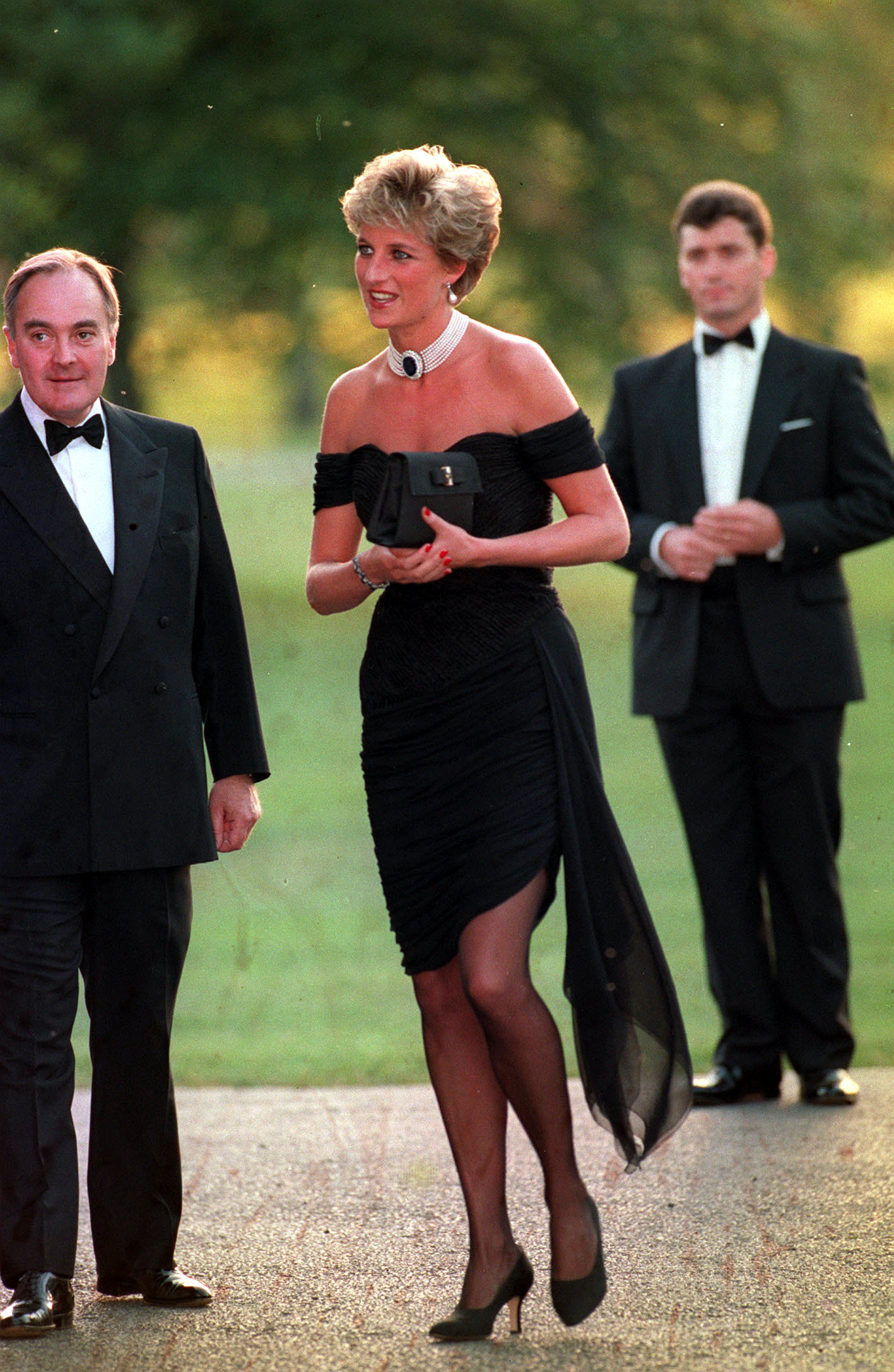 """File photo dated 29/6/1994 of the Princess of Wales arriving at the Serpentine Gallery in London's Hyde Park to attend a gala dinner as its patron. Twenty-five years ago, the Princess of Wales stepped out in her """"revenge dress""""."""