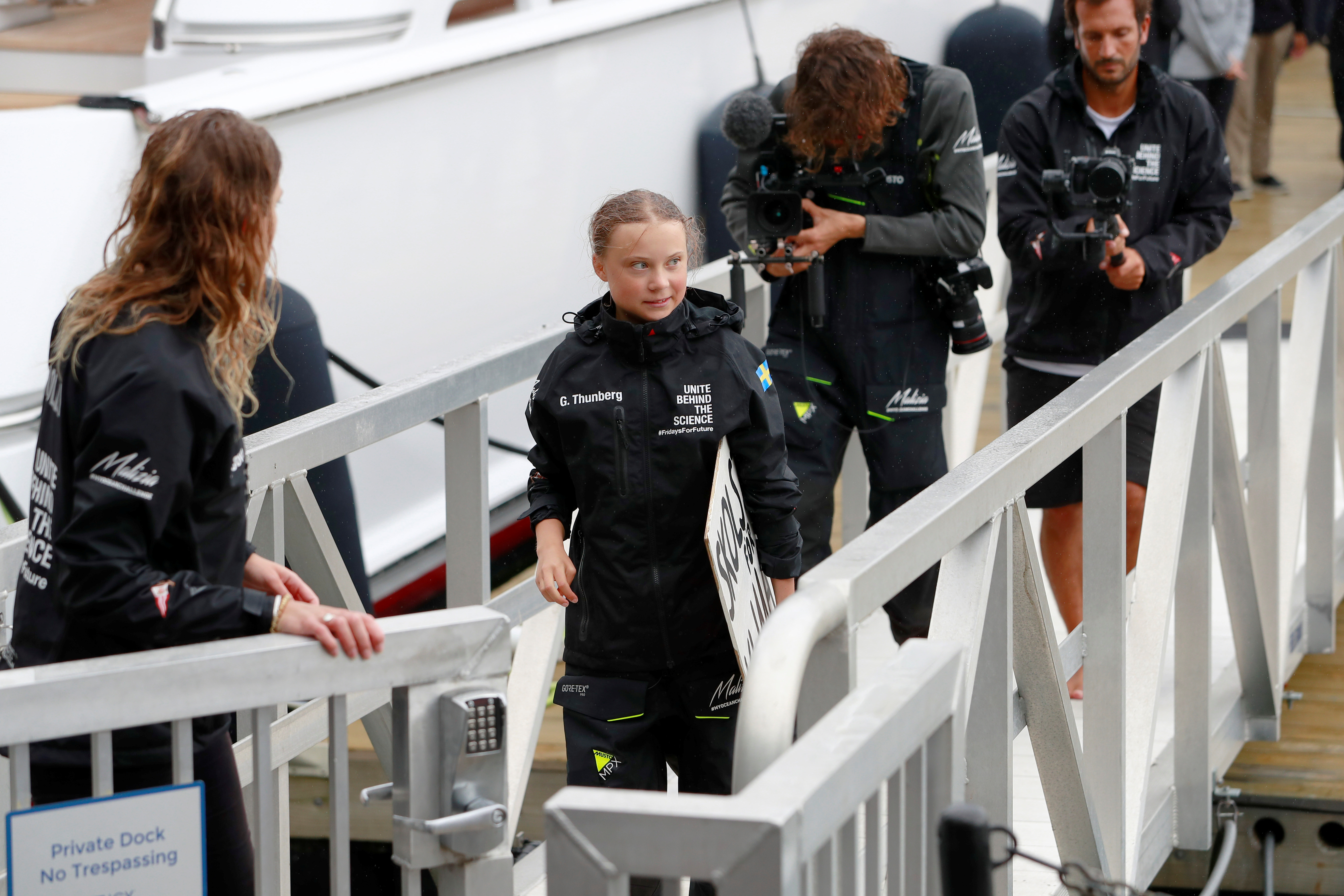 Swedish 16-year-old activist Greta Thunberg completes her trans-Atlantic crossing in order to attend a United Nations summit on climate change in New York, U.S., August 28, 2019. REUTERS/Andrew Kelly